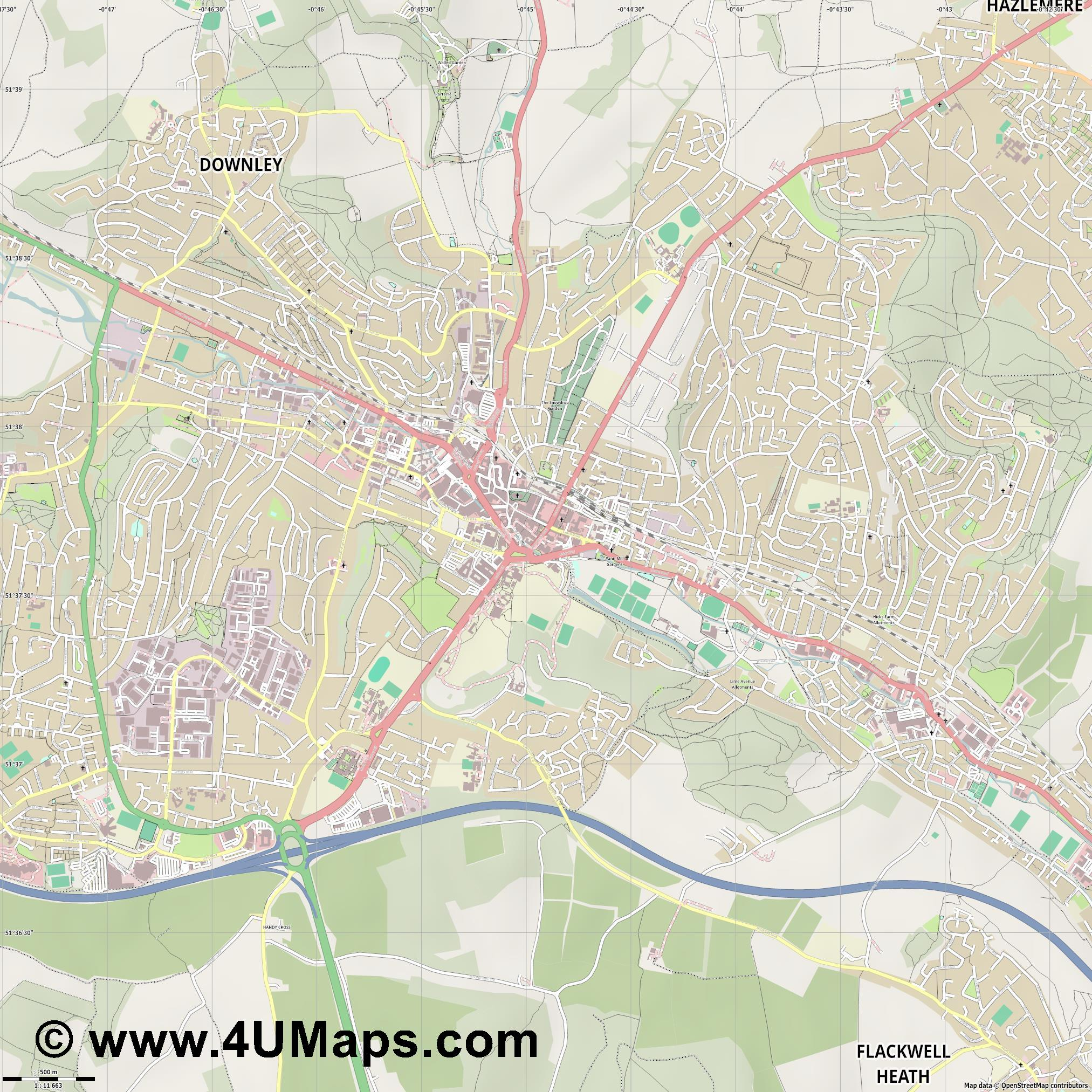 High Wycombe  jpg ultra high detail preview vector city map