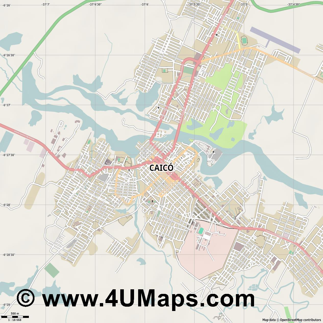 Caicó  jpg ultra high detail preview vector city map