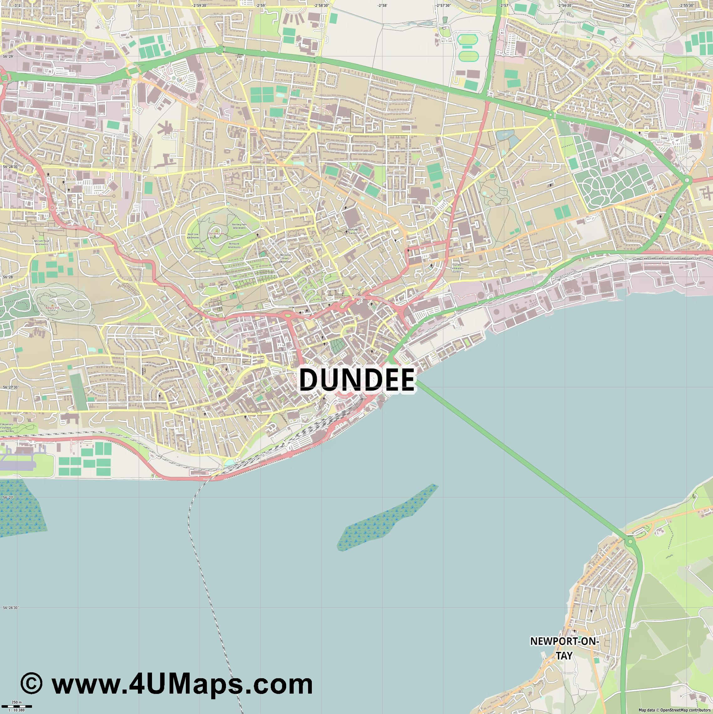 Dundee  jpg ultra high detail preview vector city map
