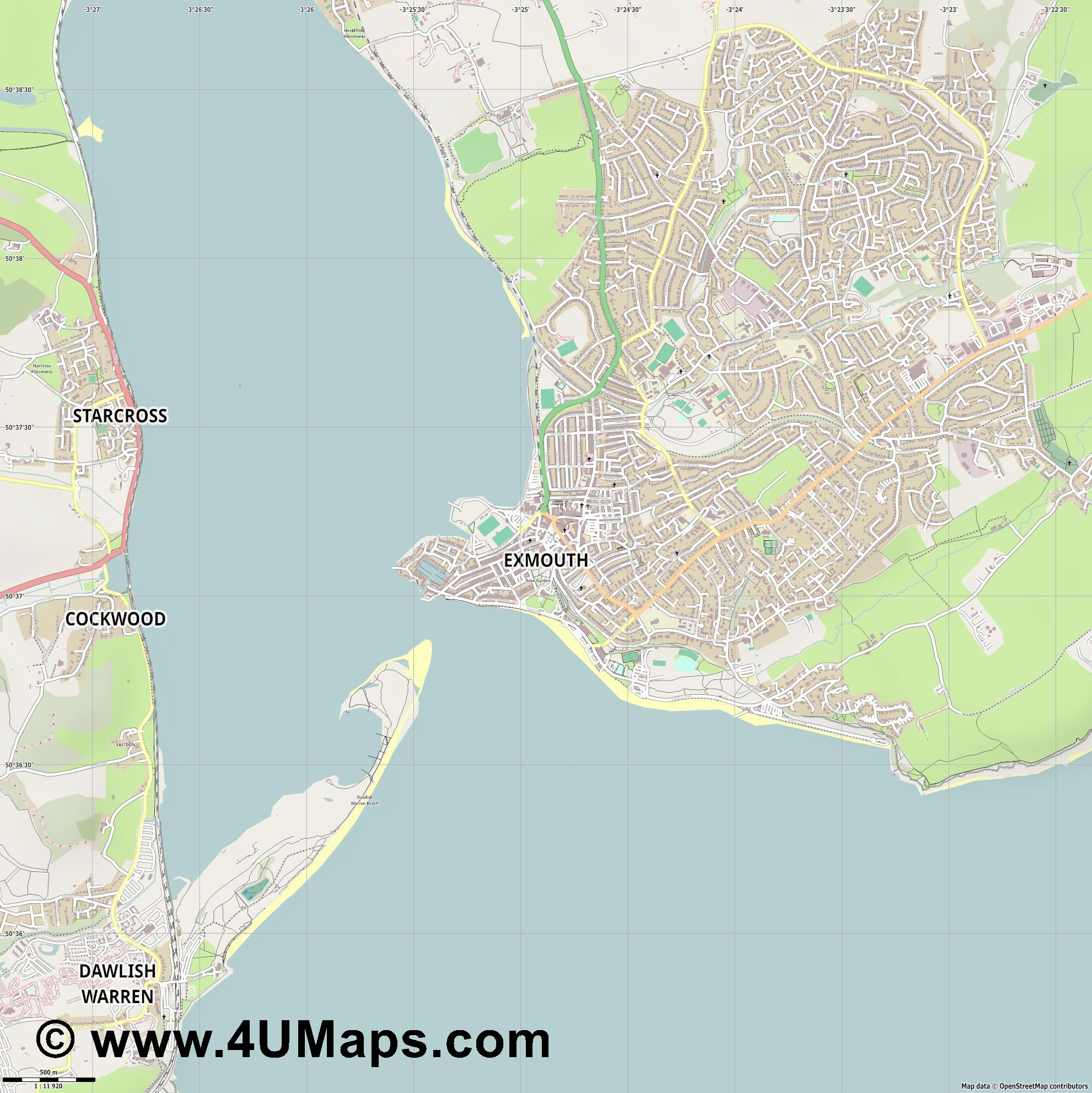 Exmouth  jpg ultra high detail preview vector city map