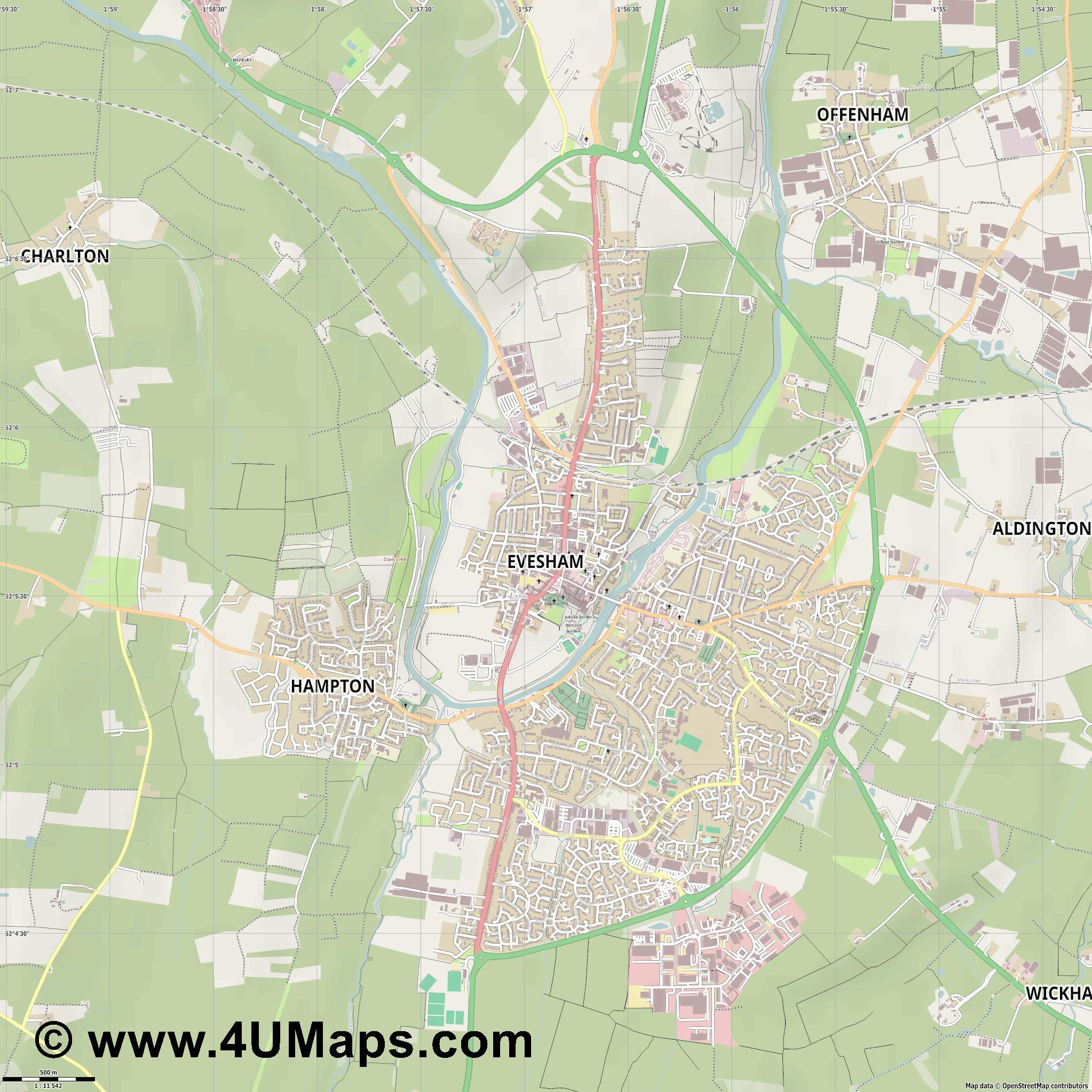 Evesham  jpg ultra high detail preview vector city map