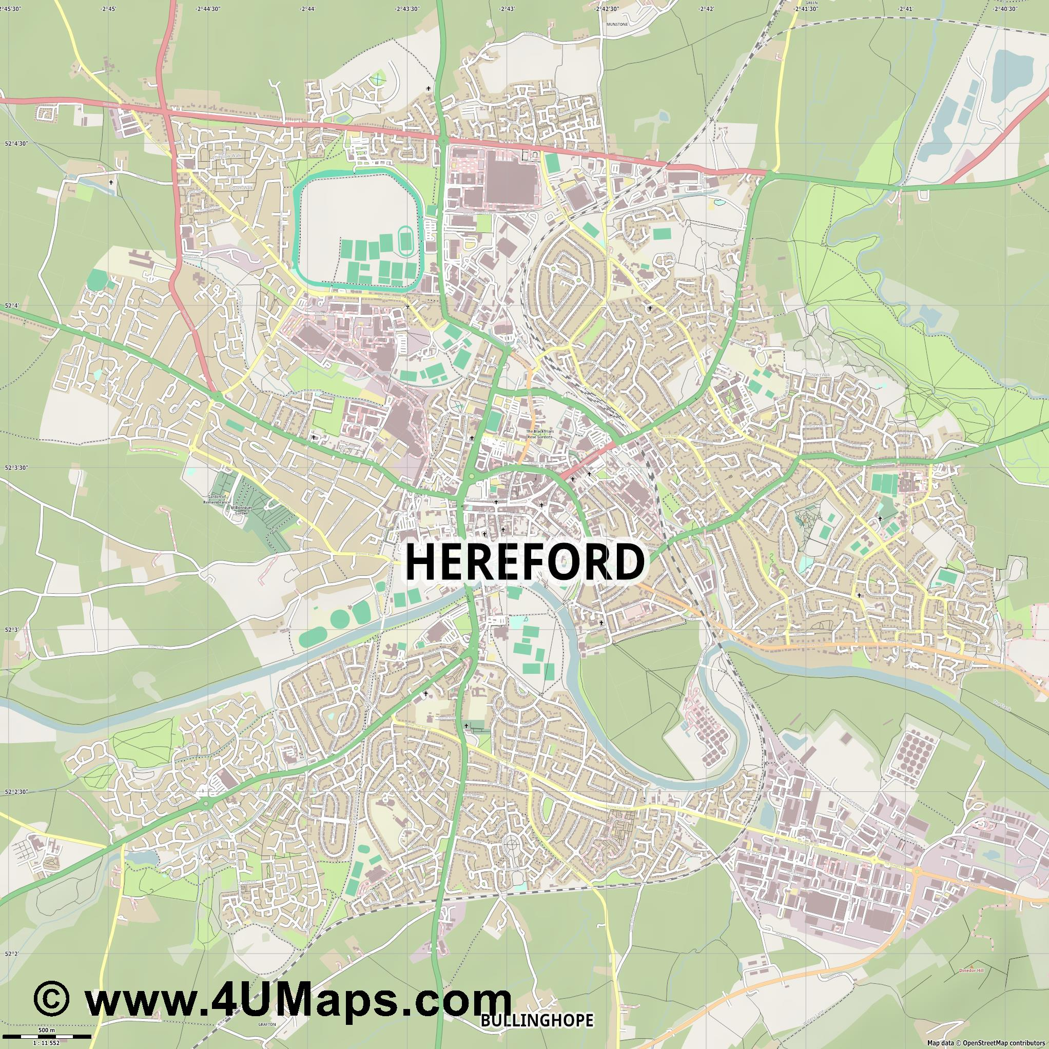 Hereford  jpg ultra high detail preview vector city map