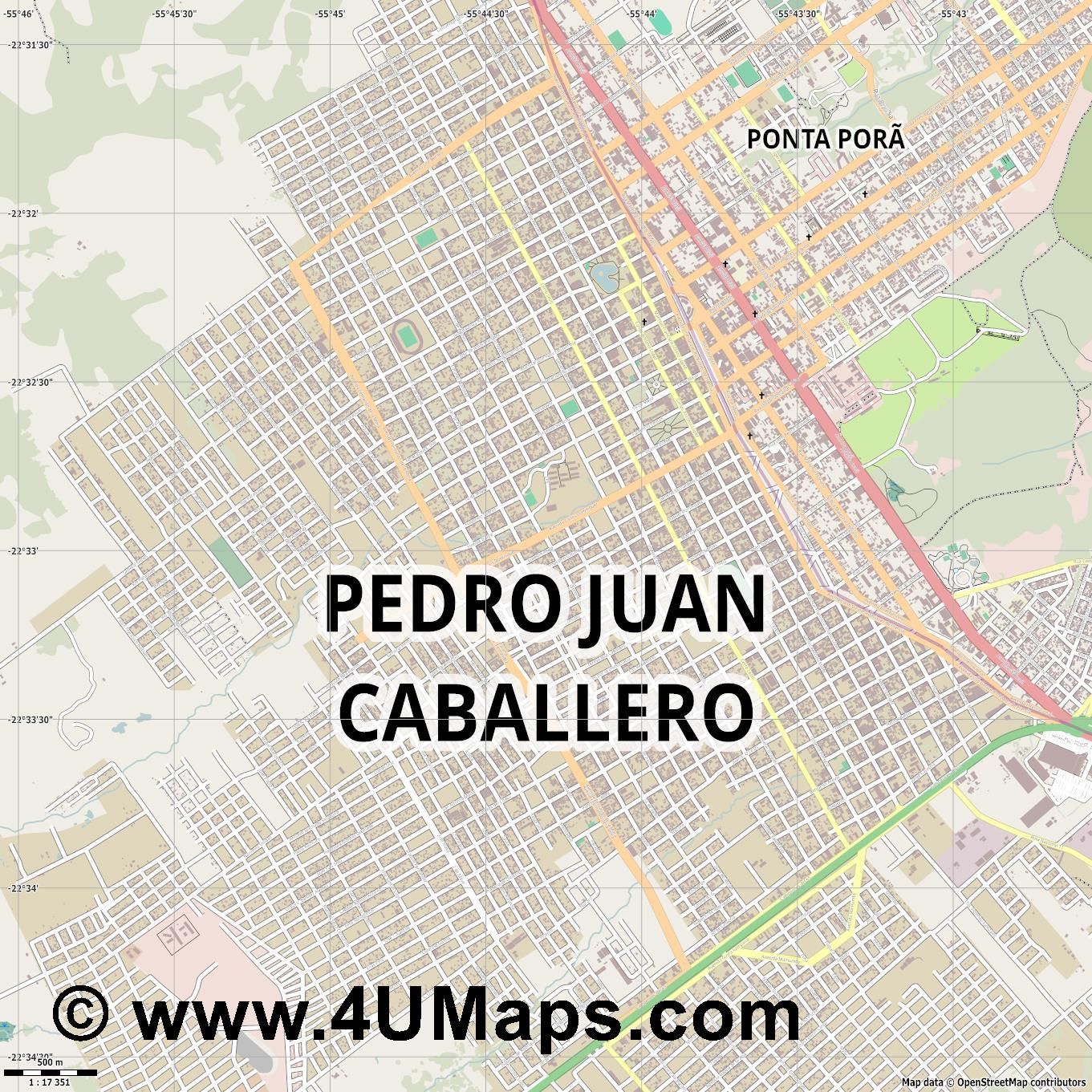 Pedro Juan Caballero  jpg ultra high detail preview vector city map