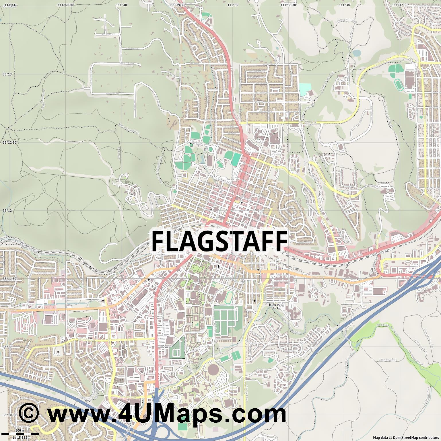Flagstaff  jpg ultra high detail preview vector city map