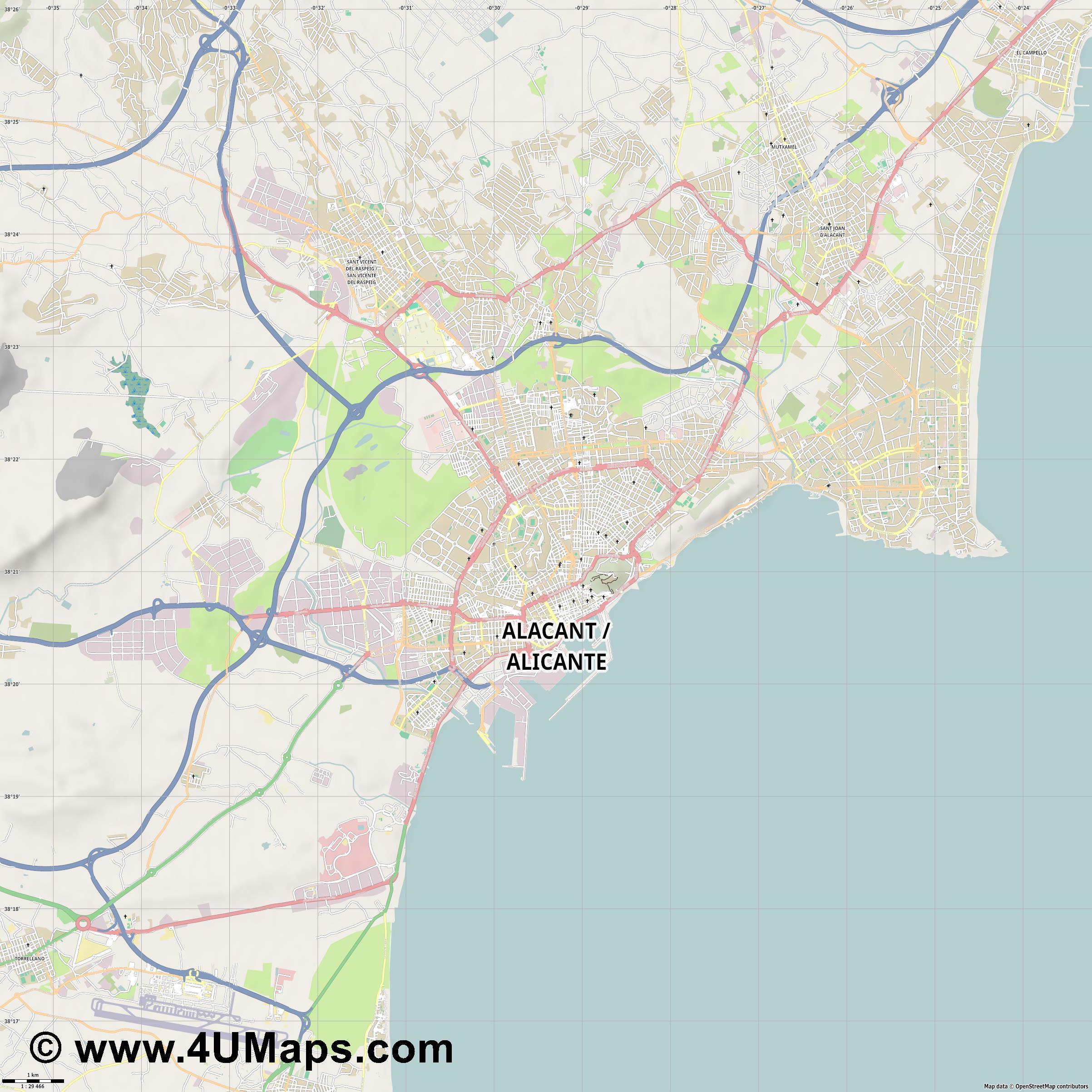 Alacant Alicante  jpg high detail, large area preview vector city map