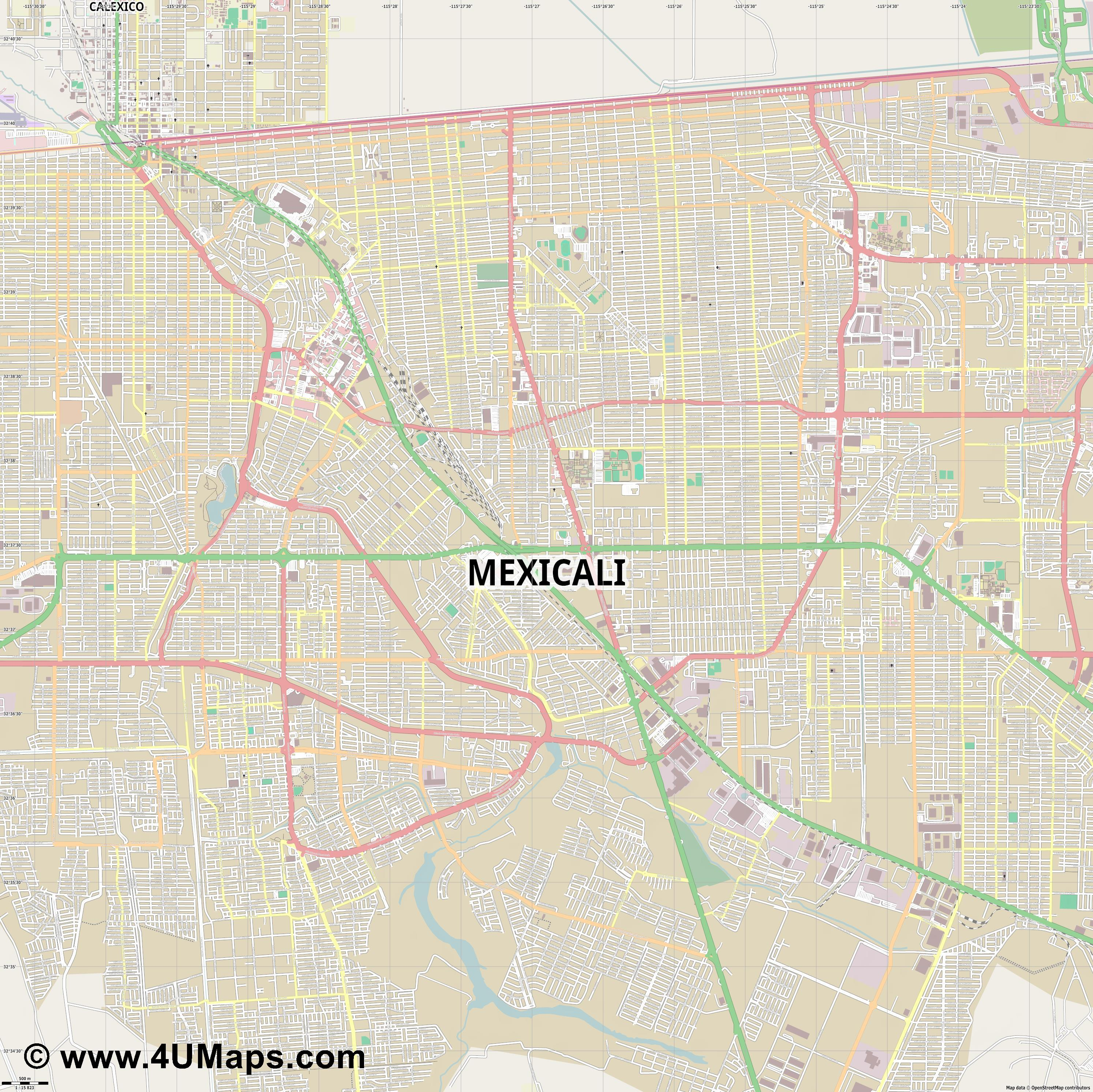 Mexicali  jpg ultra high detail preview vector city map