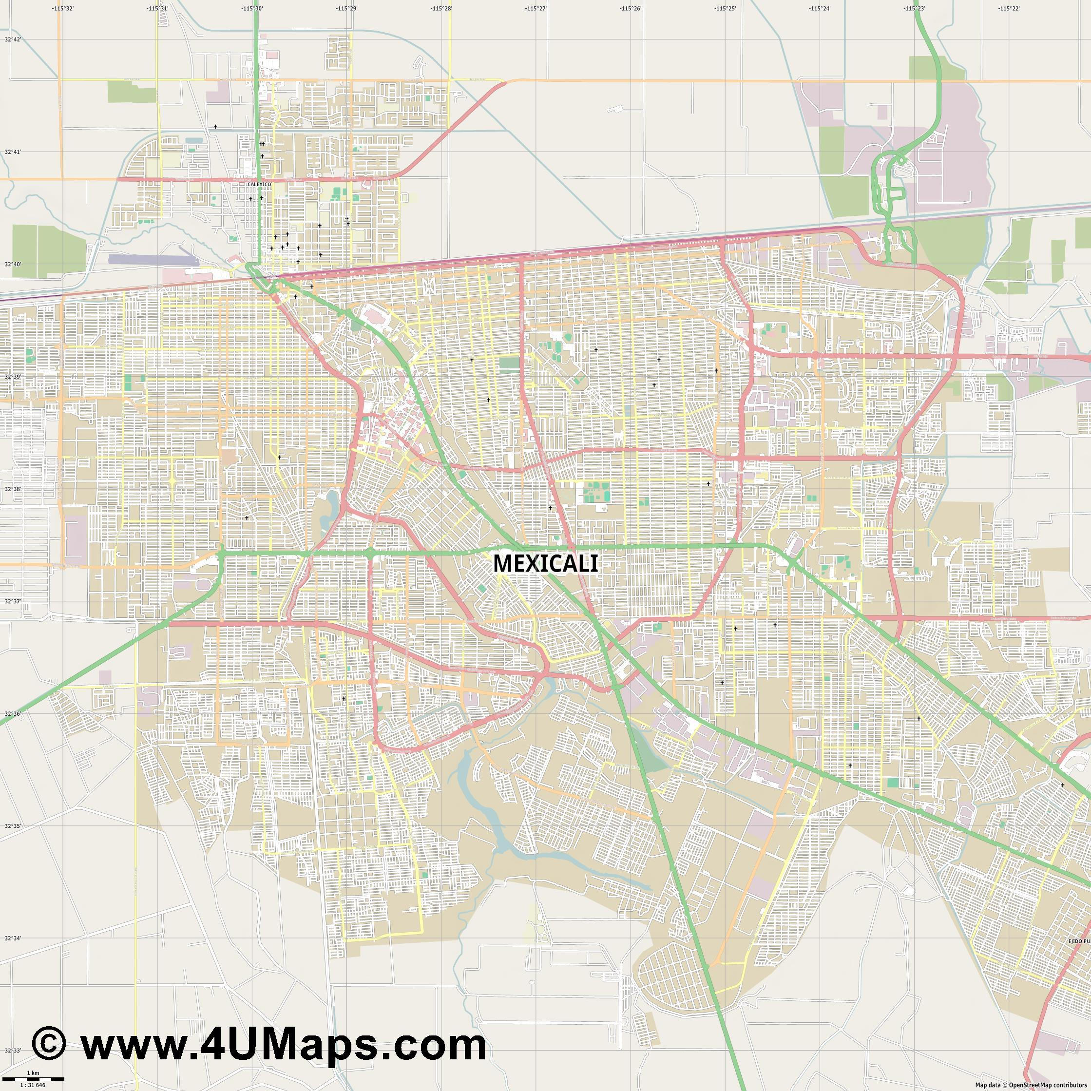 Mexicali  jpg high detail, large area preview vector city map