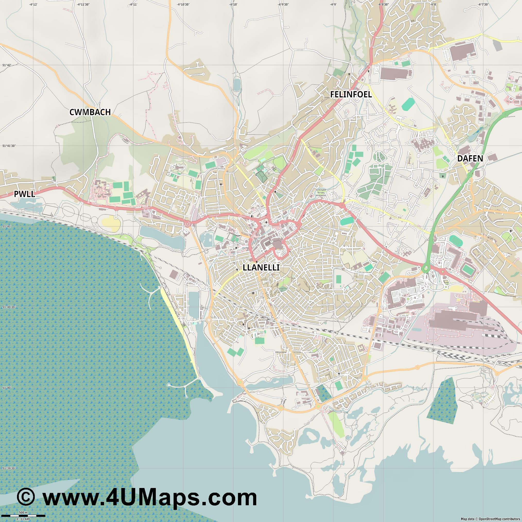 Llanelli  jpg ultra high detail preview vector city map