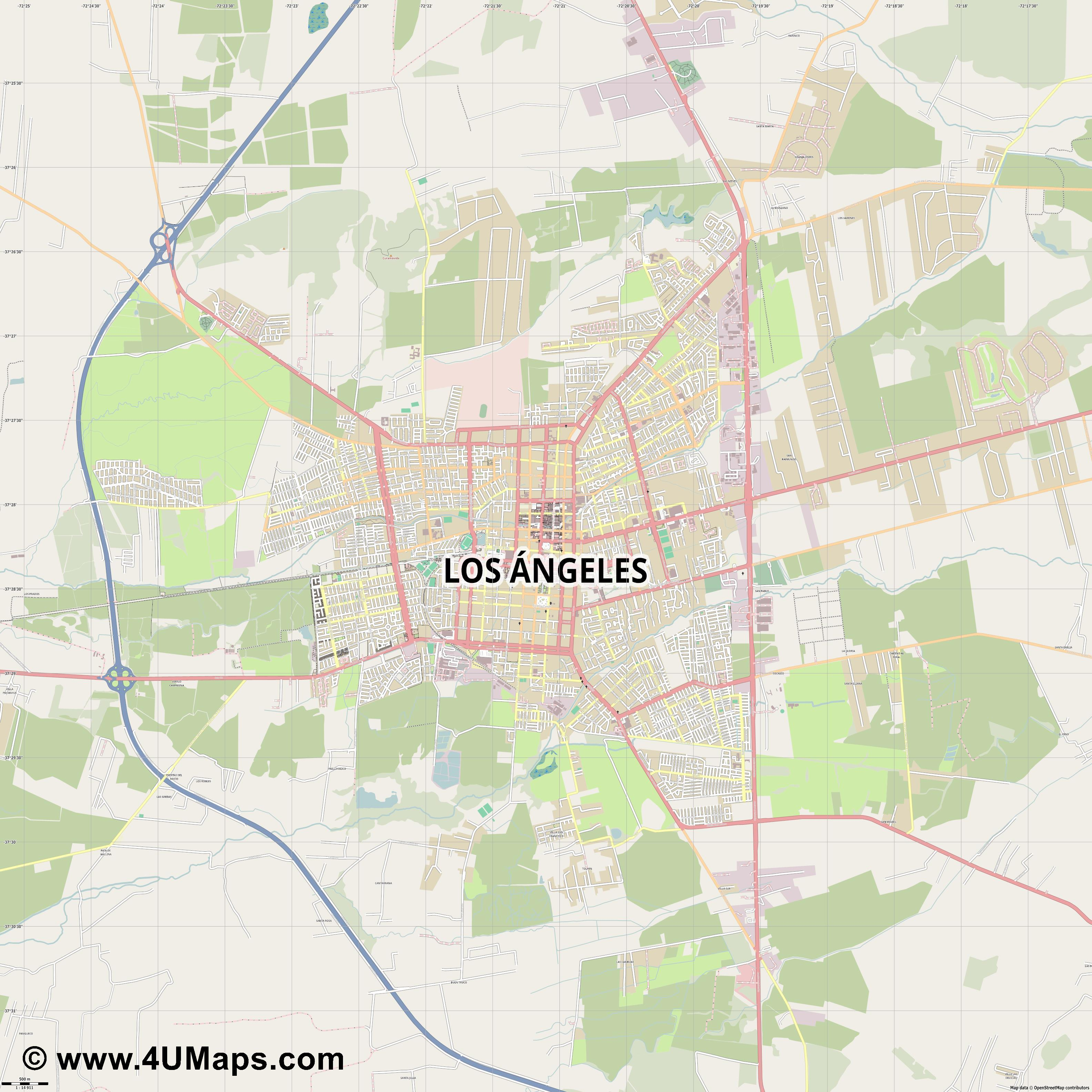 Los Ángeles  jpg ultra high detail preview vector city map