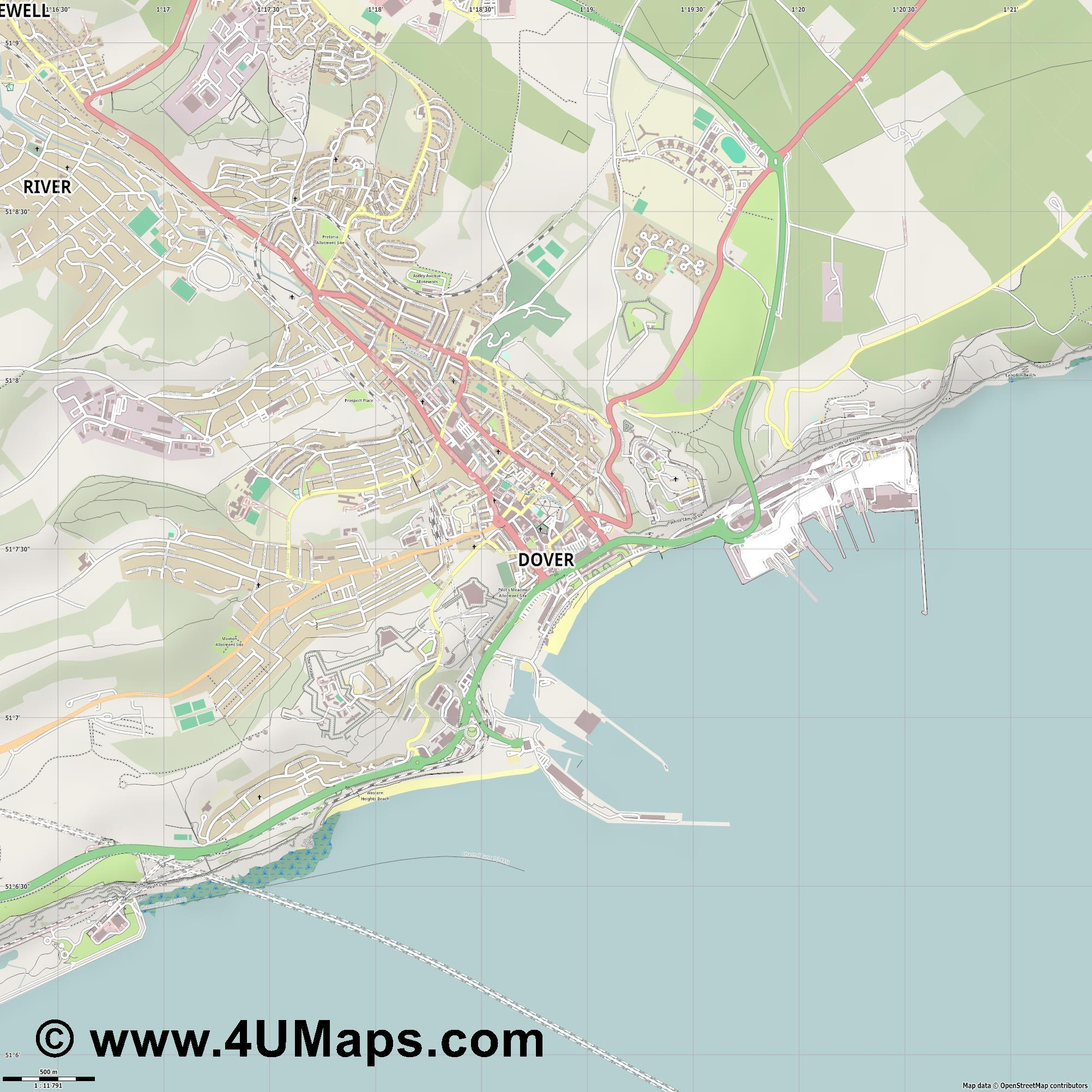 Dover Douvres  jpg ultra high detail preview vector city map