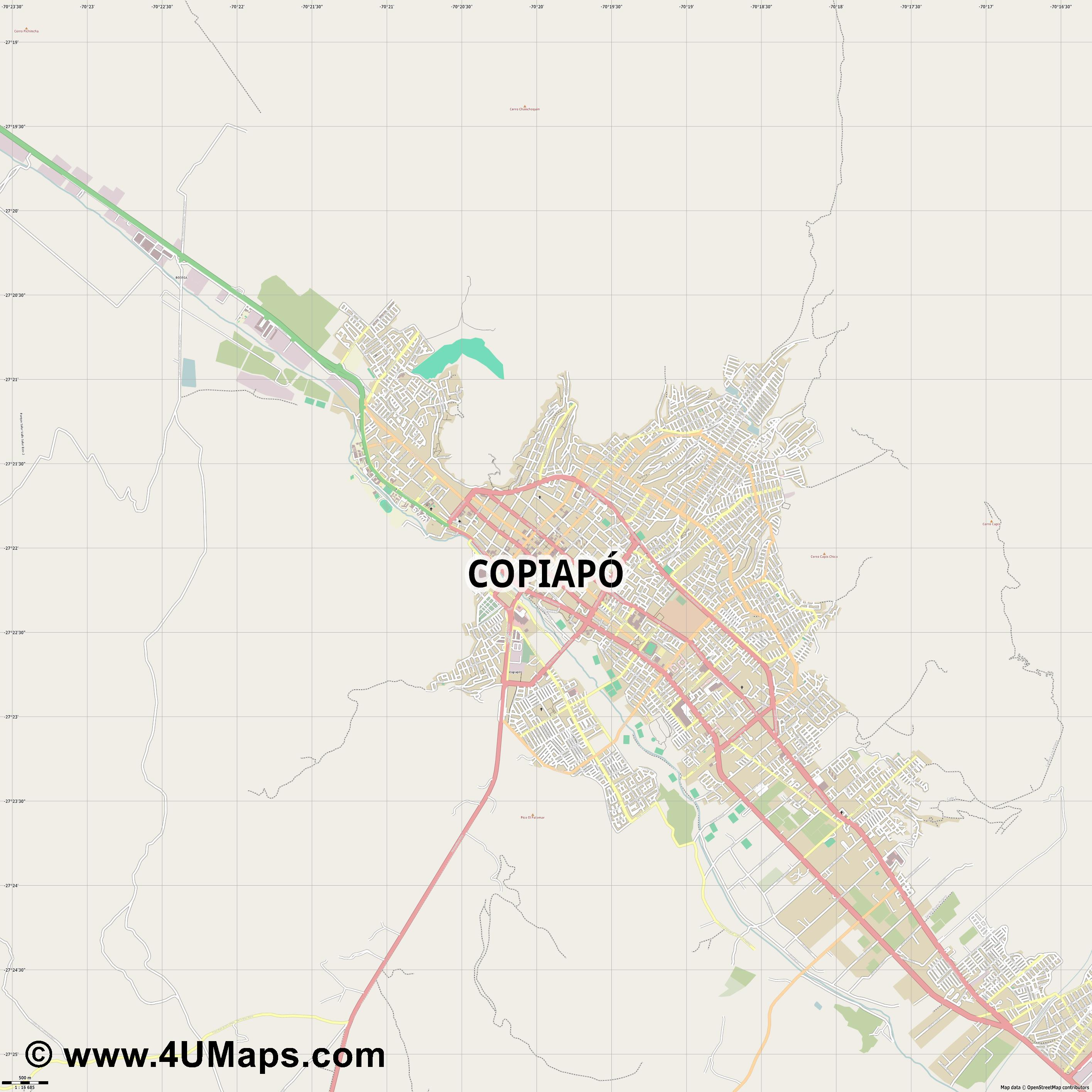 Copiapó  jpg ultra high detail preview vector city map