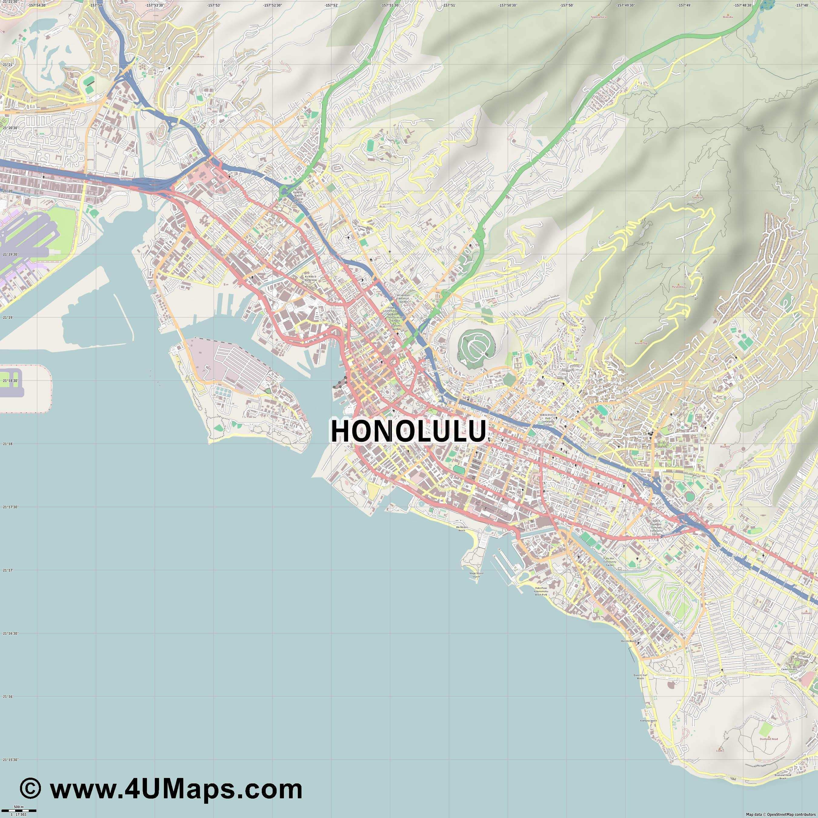 Honolulu  jpg ultra high detail preview vector city map