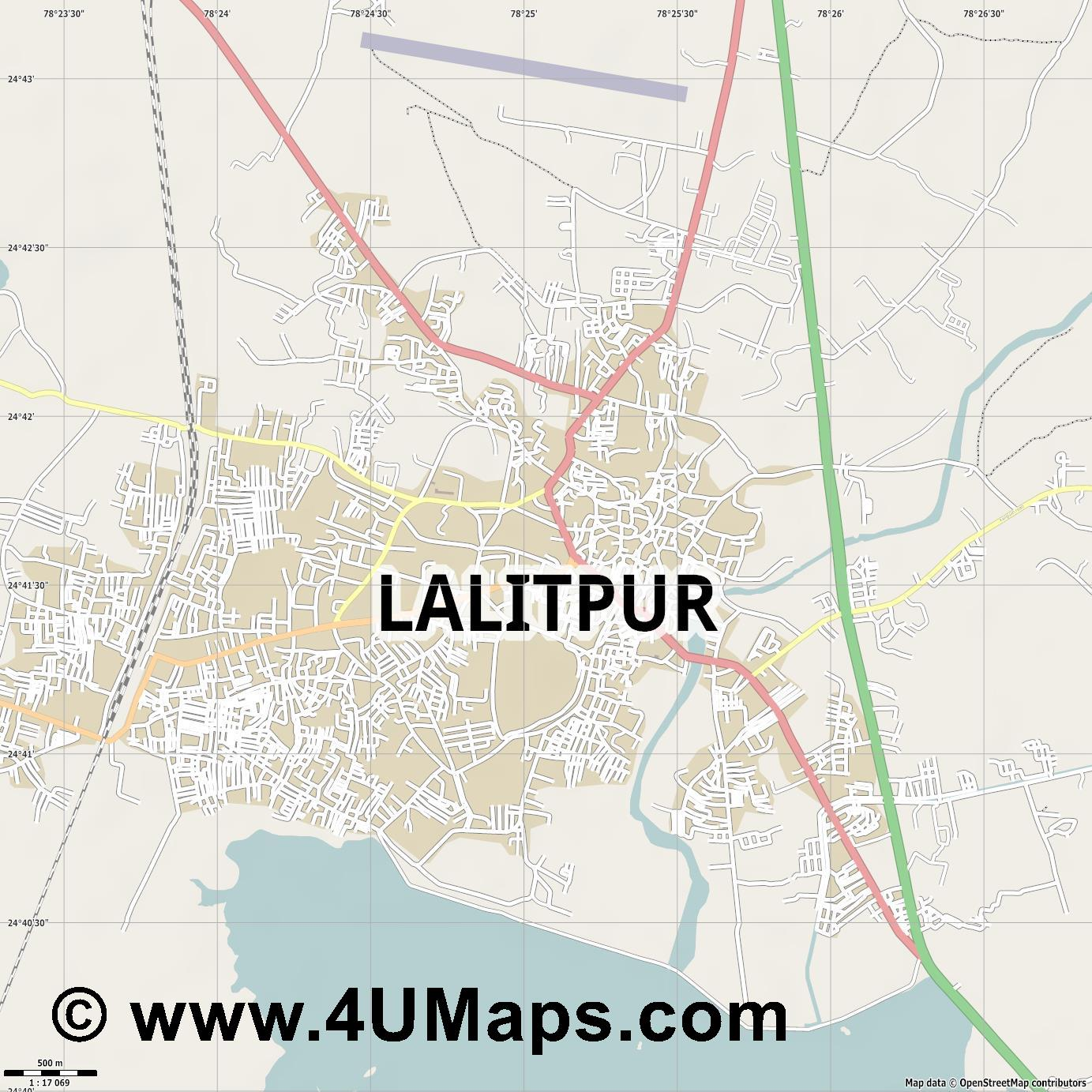 Lalitpur  jpg ultra high detail preview vector city map