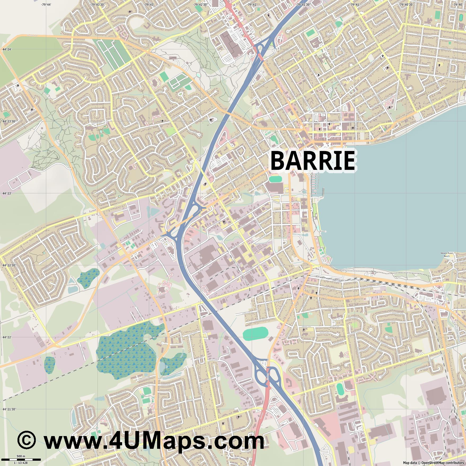 Barrie  jpg ultra high detail preview vector city map