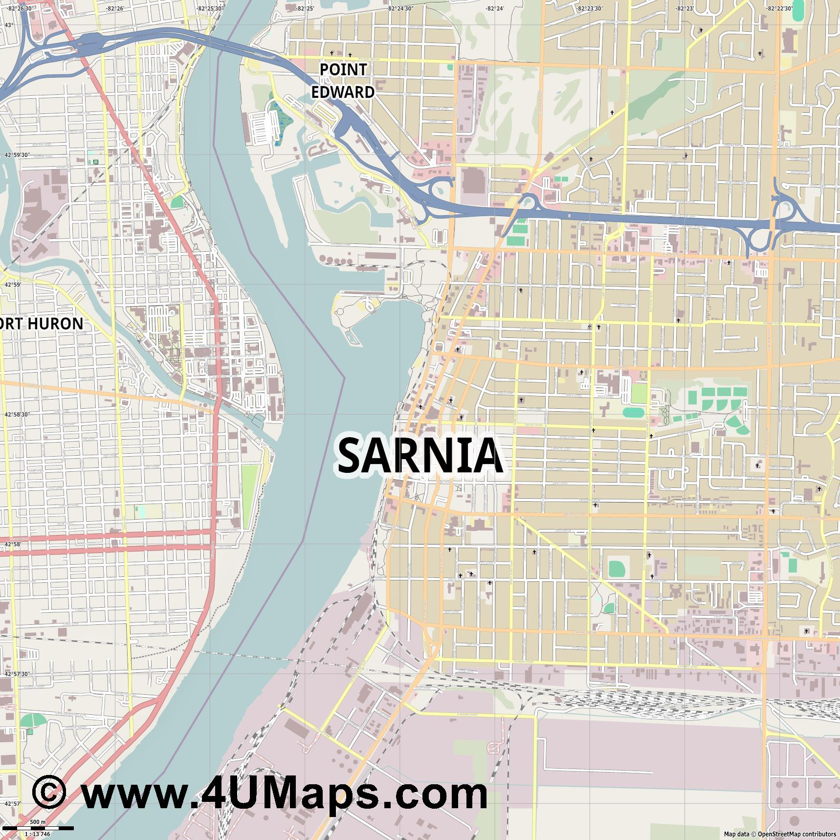 Sarnia  jpg ultra high detail preview vector city map