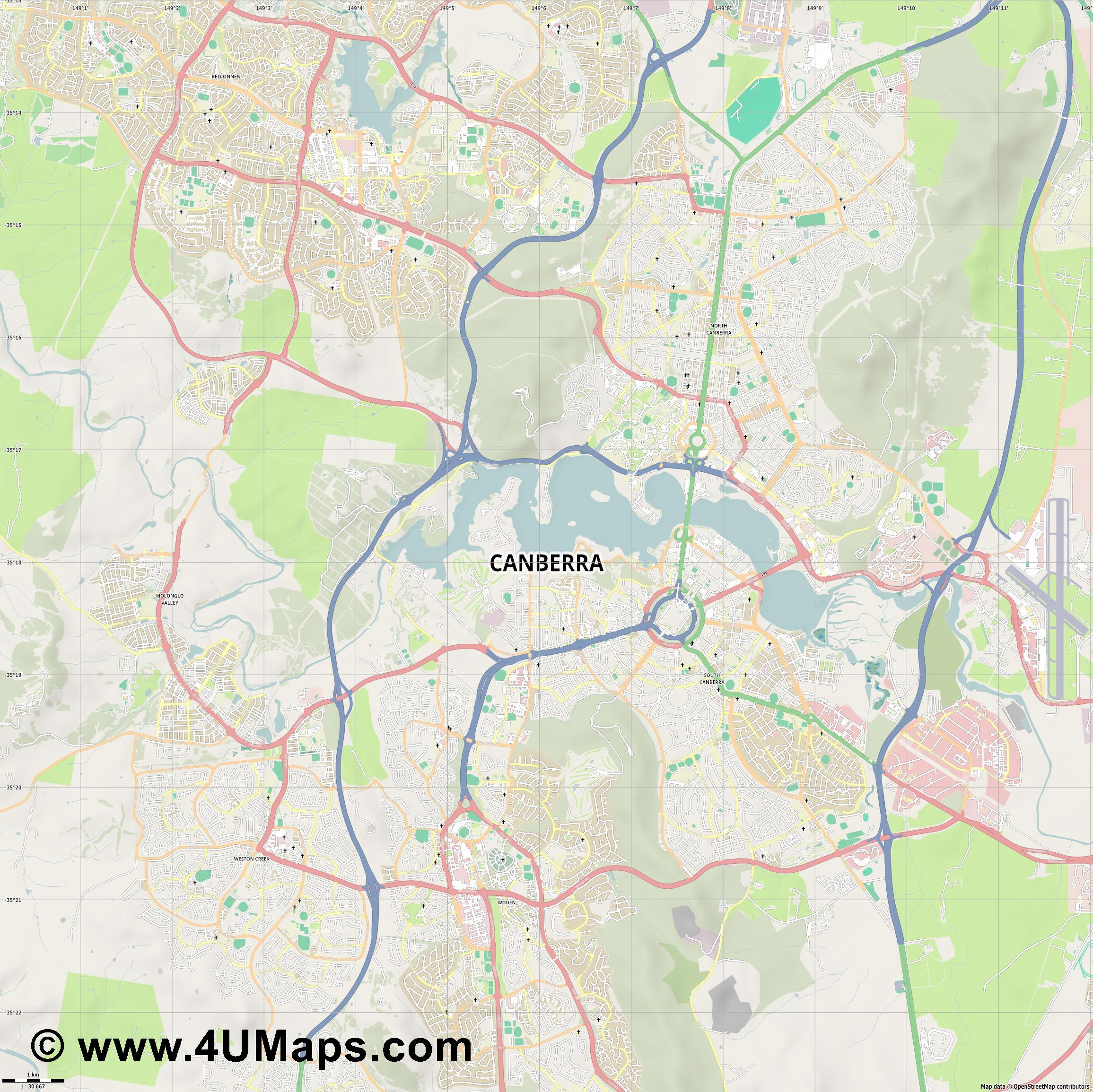 Canberra  jpg high detail, large area preview vector city map
