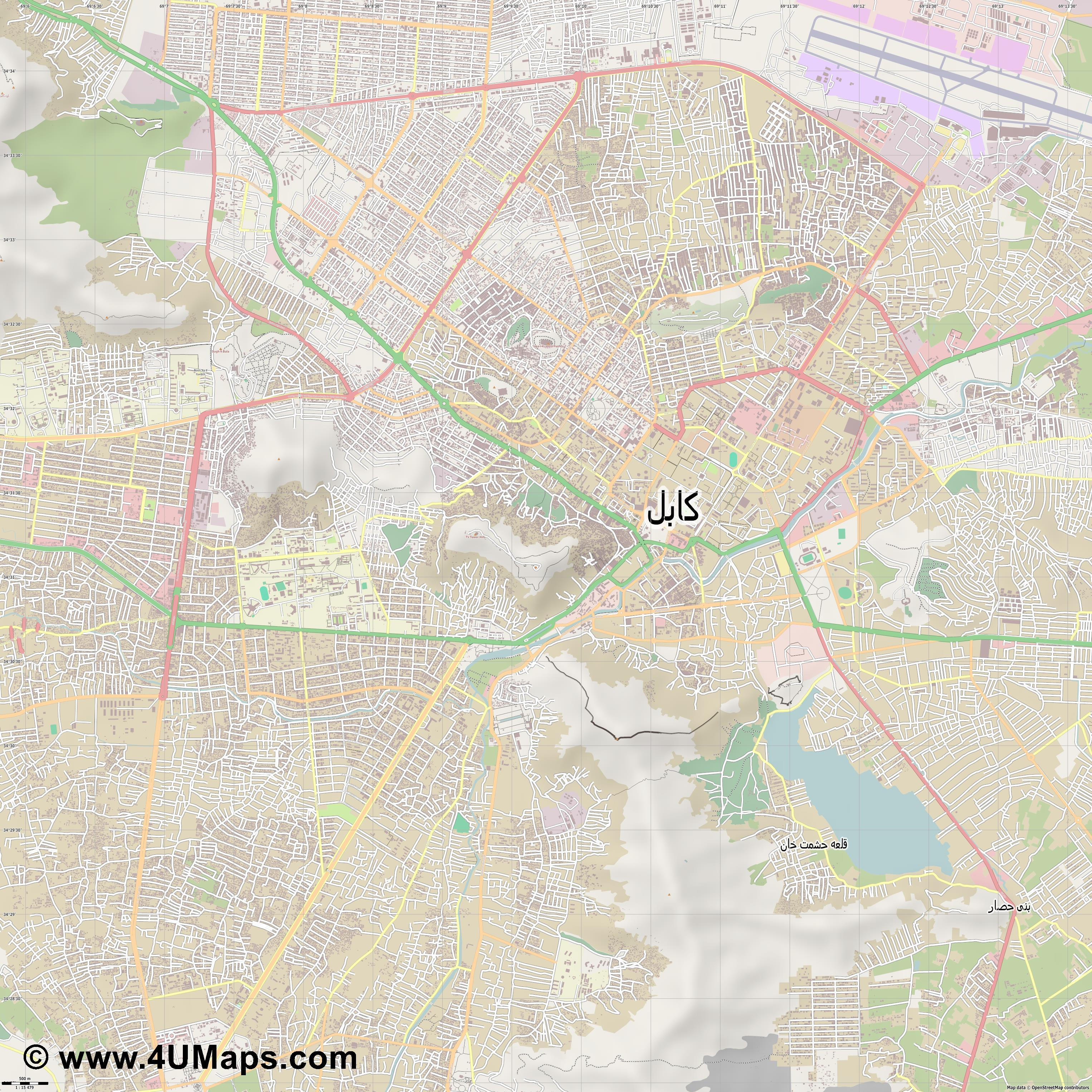 کابل Kabul Kaboul  jpg ultra high detail preview vector city map