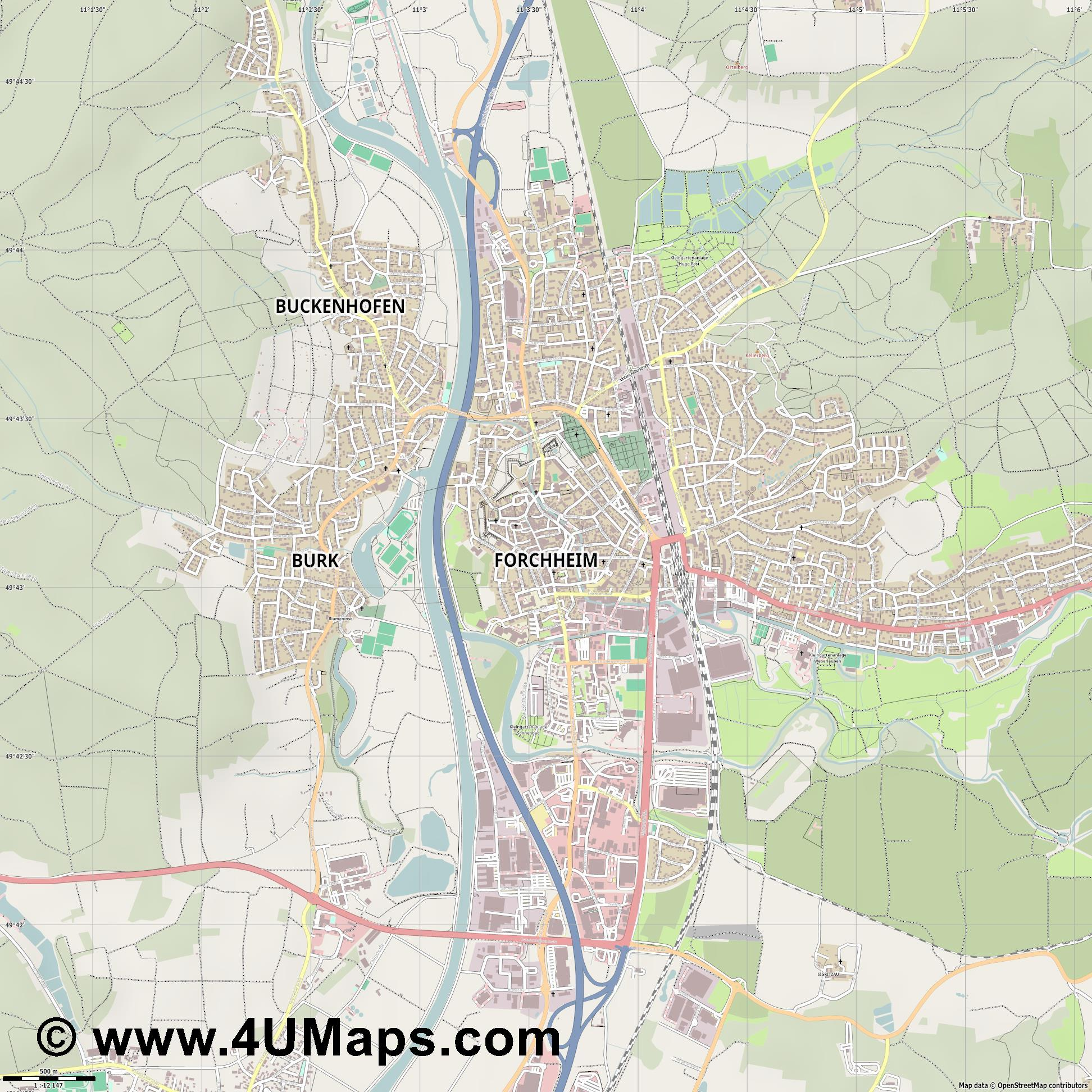 Forchheim  jpg ultra high detail preview vector city map