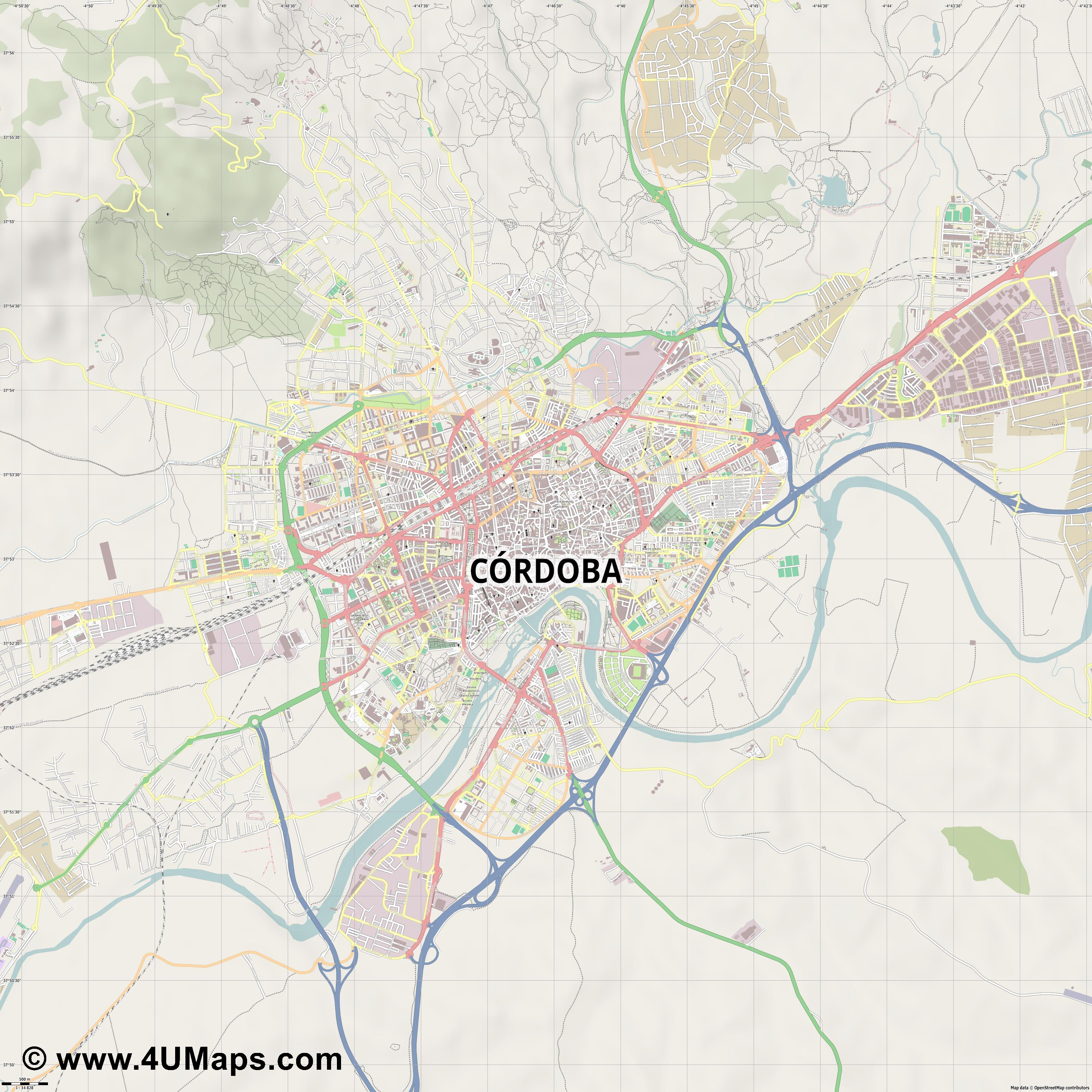 Córdoba Cordoue Cordova  jpg ultra high detail preview vector city map