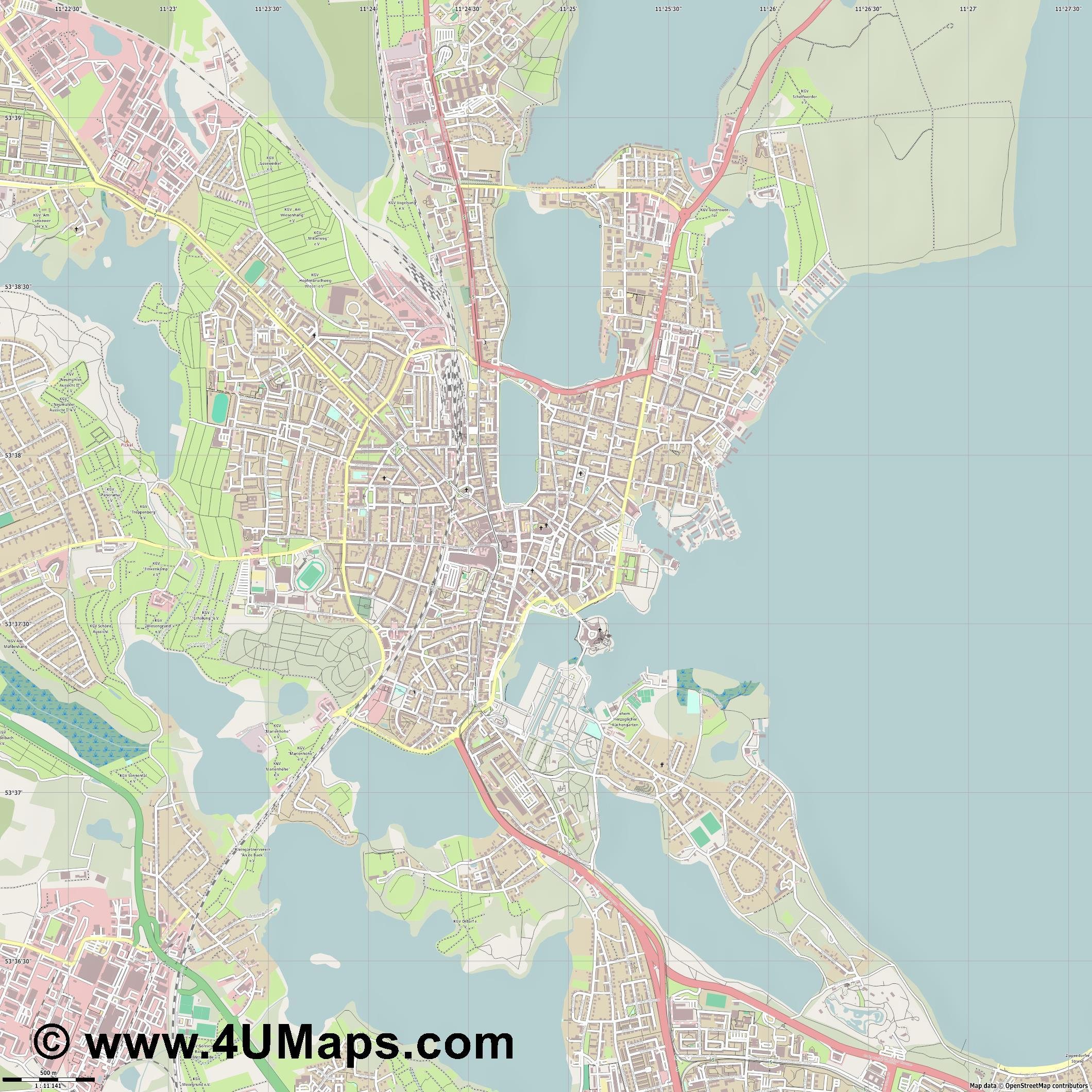 Schwerin  jpg ultra high detail preview vector city map