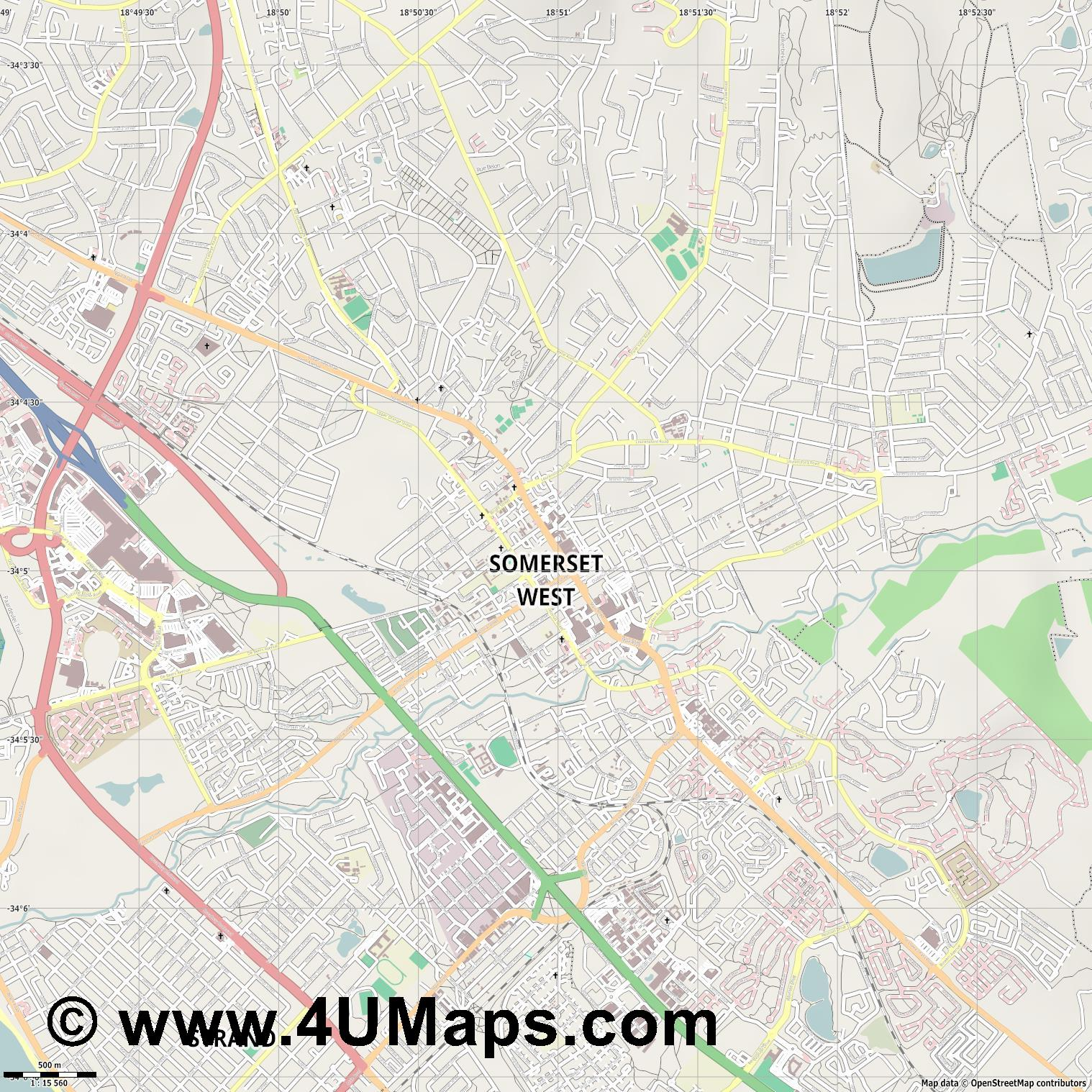 Somerset West  jpg ultra high detail preview vector city map