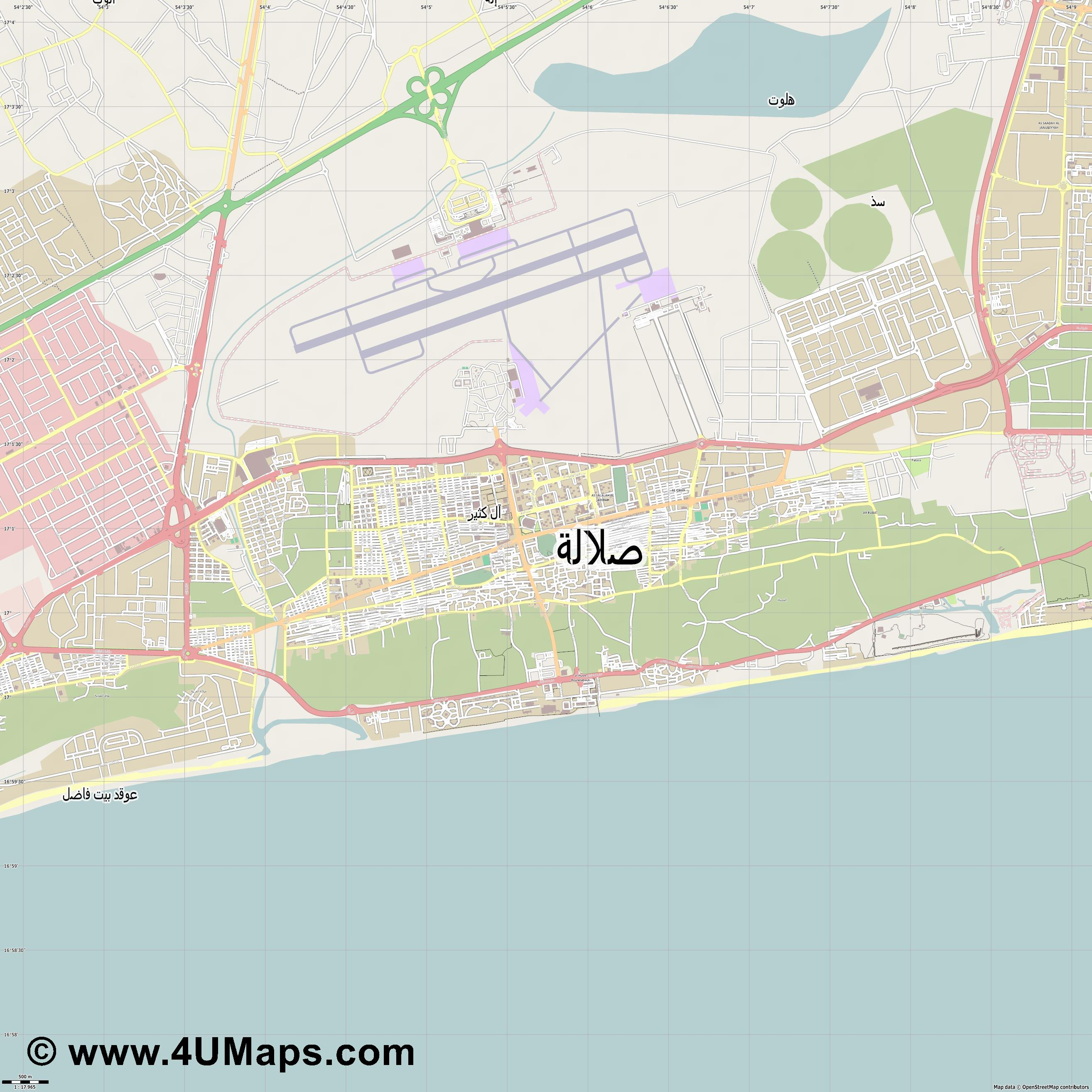 صلالة Salalah  jpg ultra high detail preview vector city map