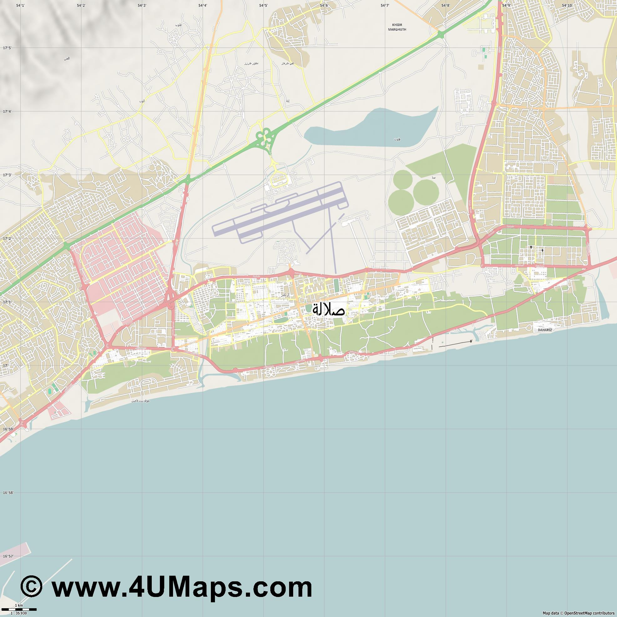 صلالة Salalah  jpg high detail, large area preview vector city map