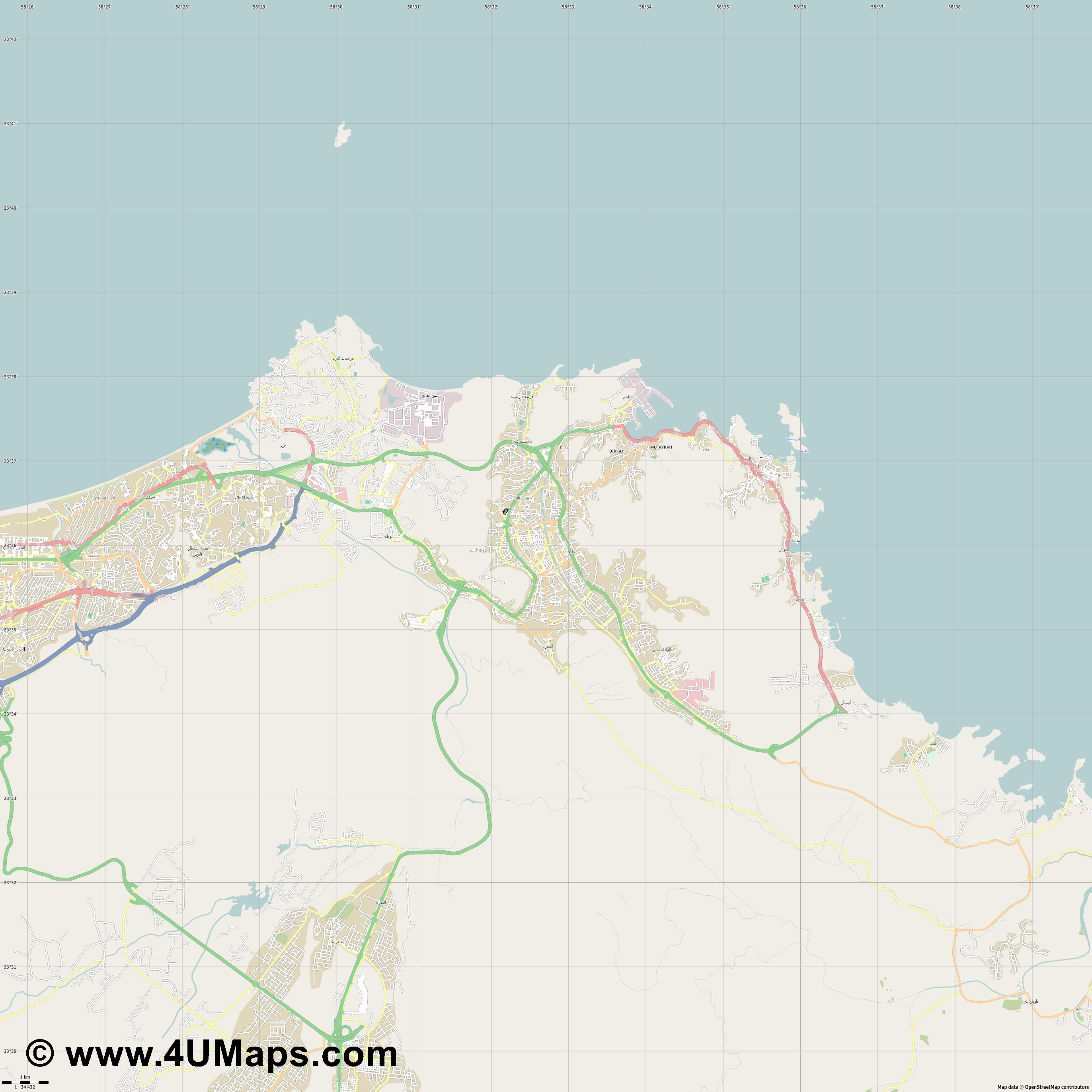 Muscat Mascate Maskat  jpg high detail, large area preview vector city map