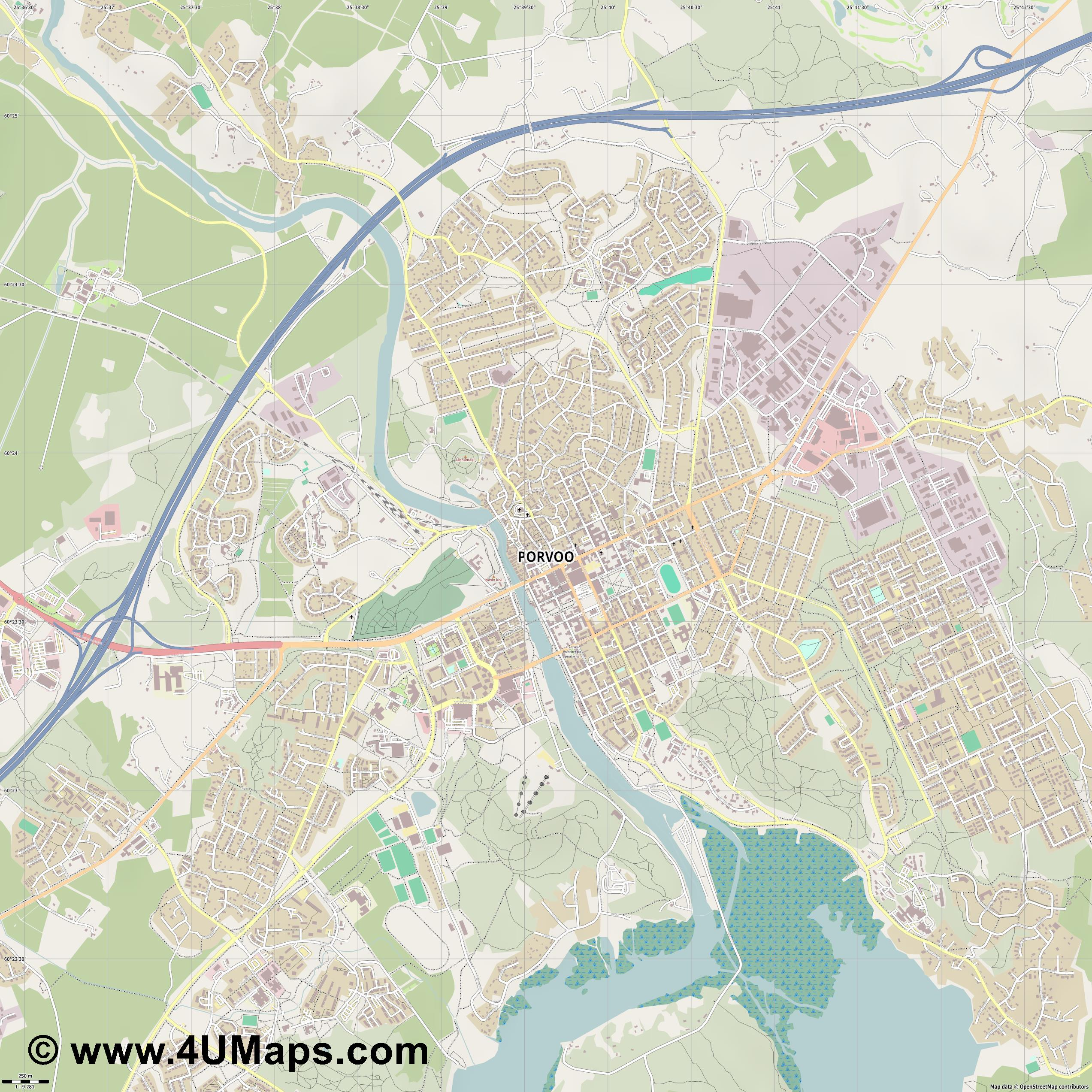 Porvoo  jpg ultra high detail preview vector city map