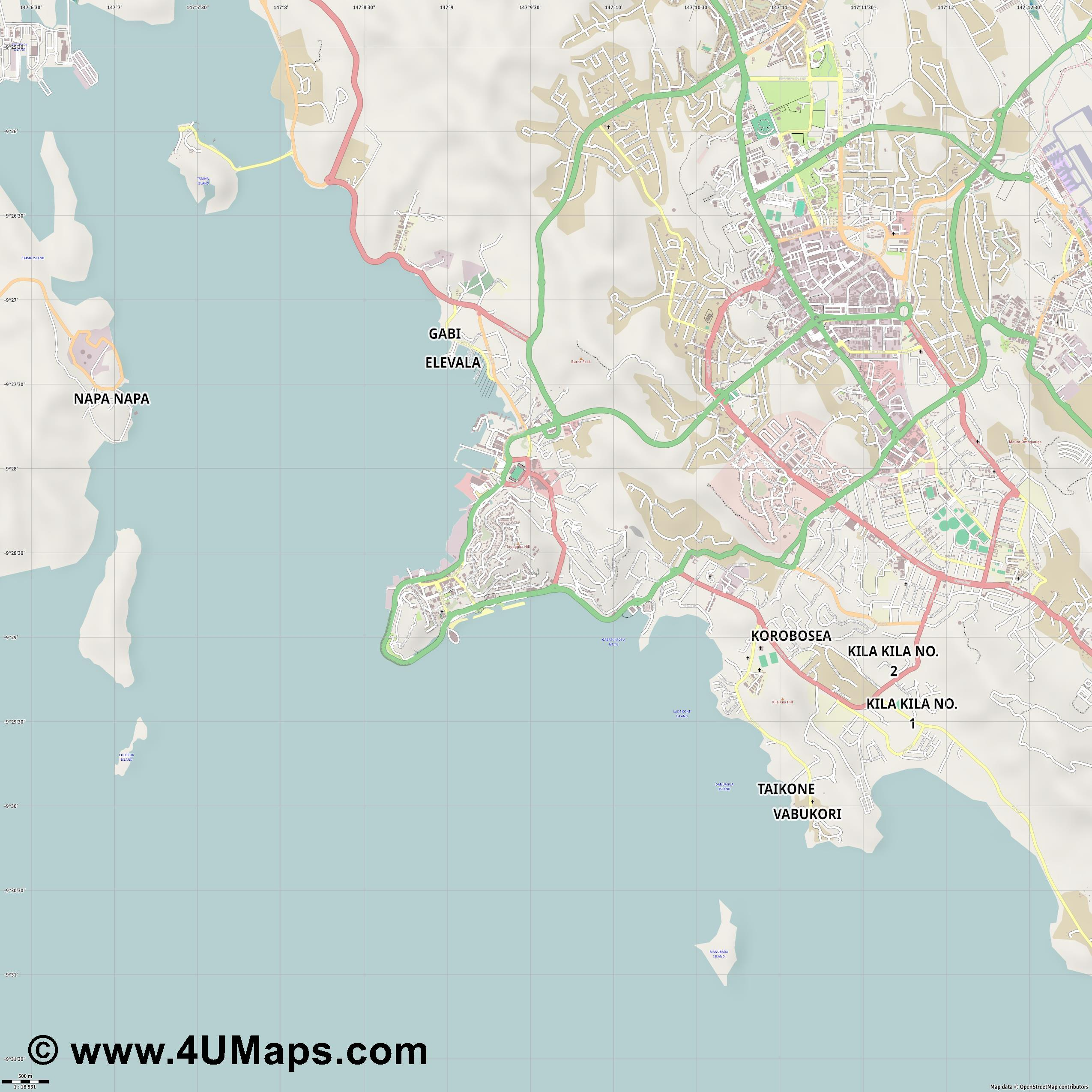 Port Moresby Puerto Moresby  jpg ultra high detail preview vector city map