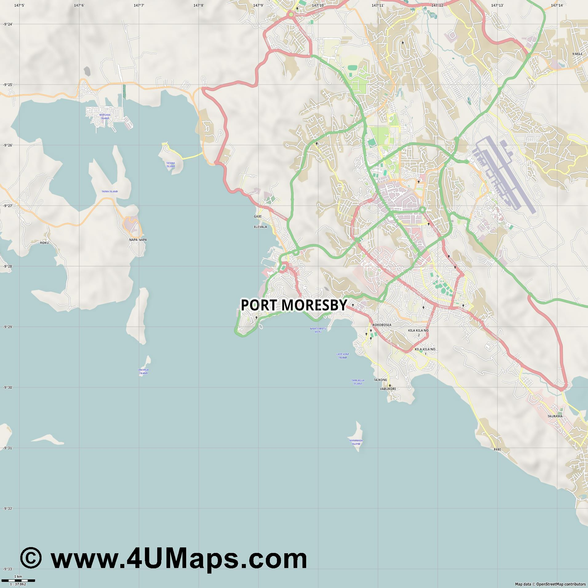 Port Moresby Puerto Moresby  jpg high detail, large area preview vector city map