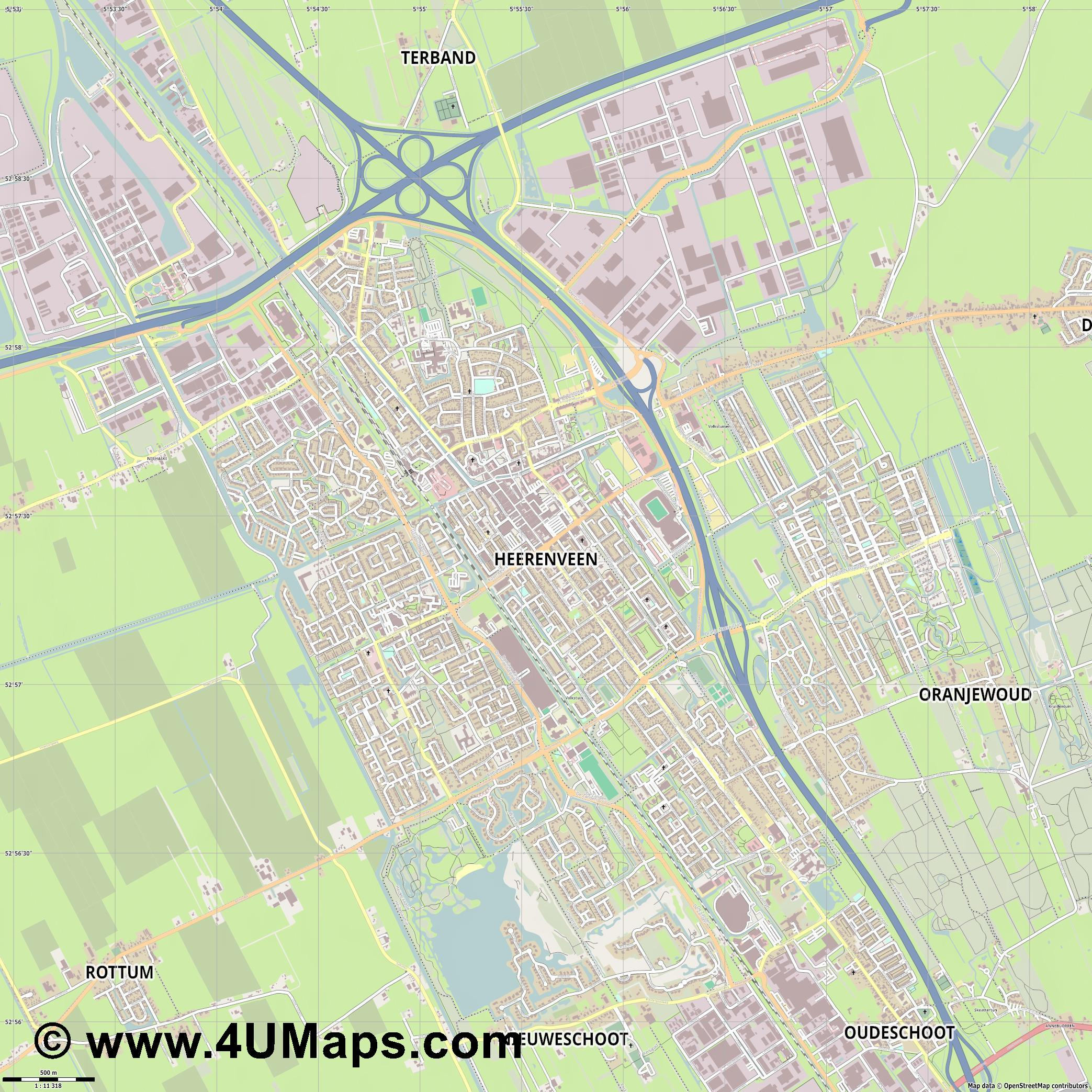 Heerenveen  jpg ultra high detail preview vector city map