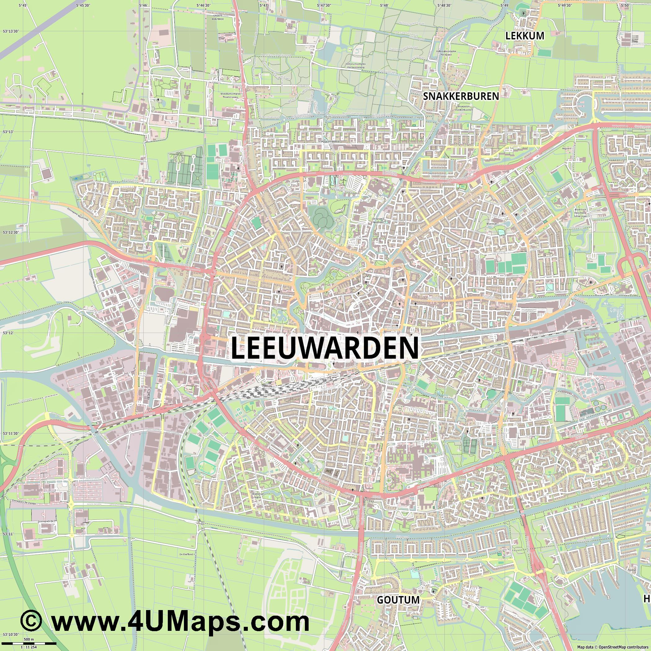 Leeuwarden  jpg ultra high detail preview vector city map
