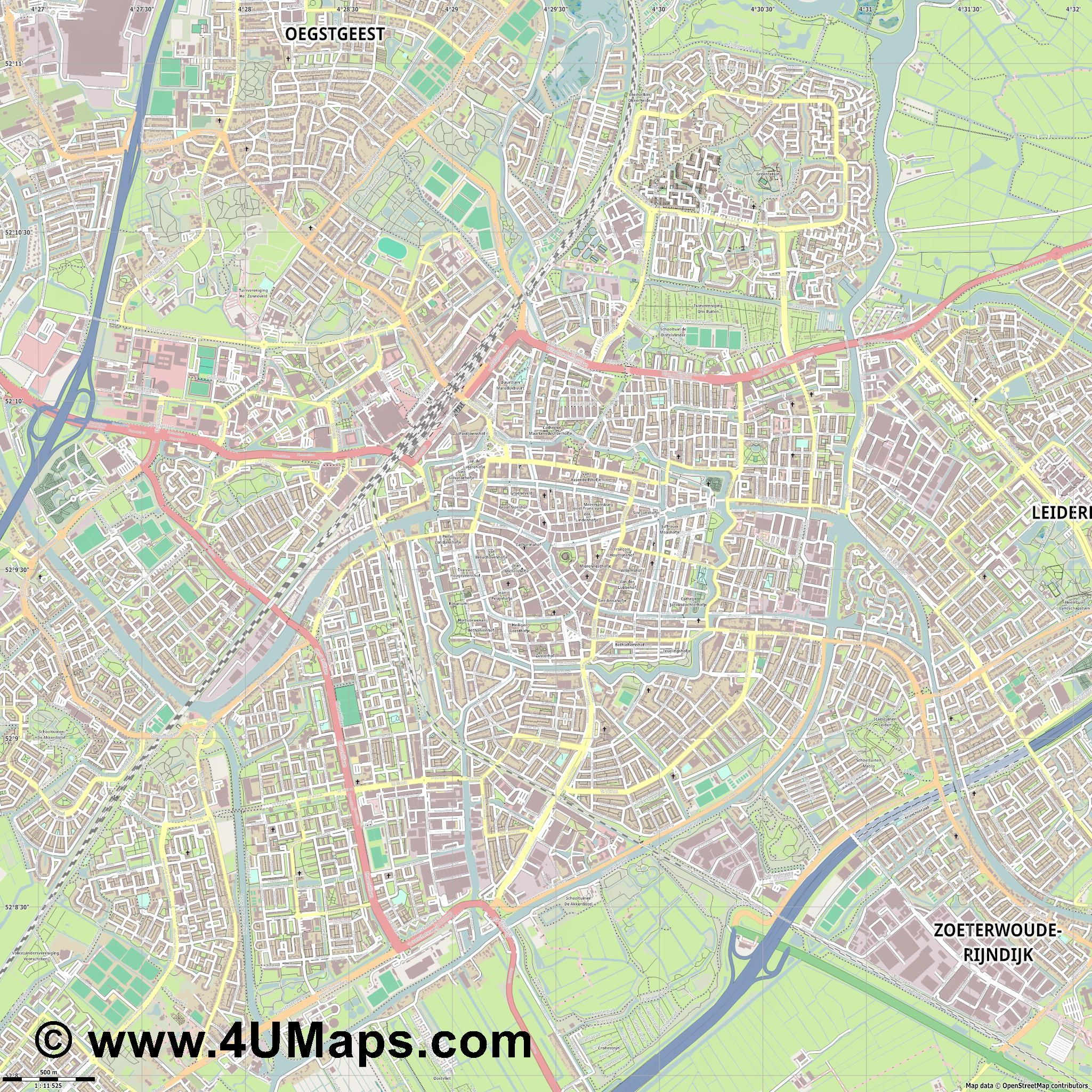 PDF Svg Scalable Vector City Map Leiden