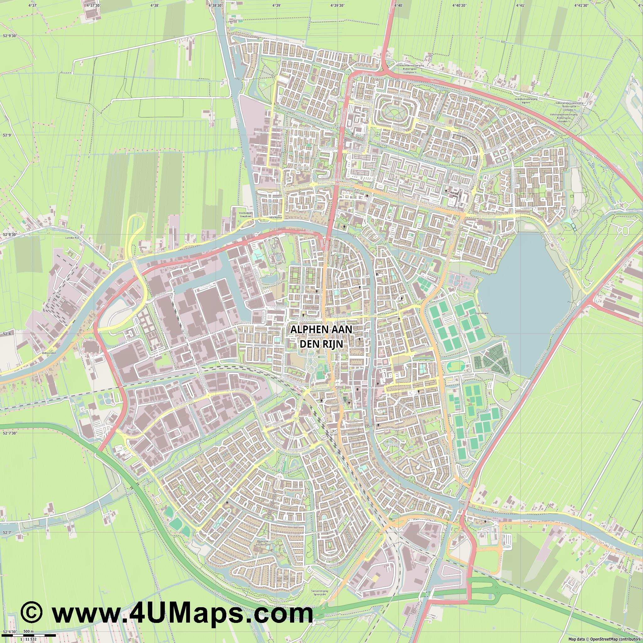 Alphen aan den Rijn  jpg ultra high detail preview vector city map