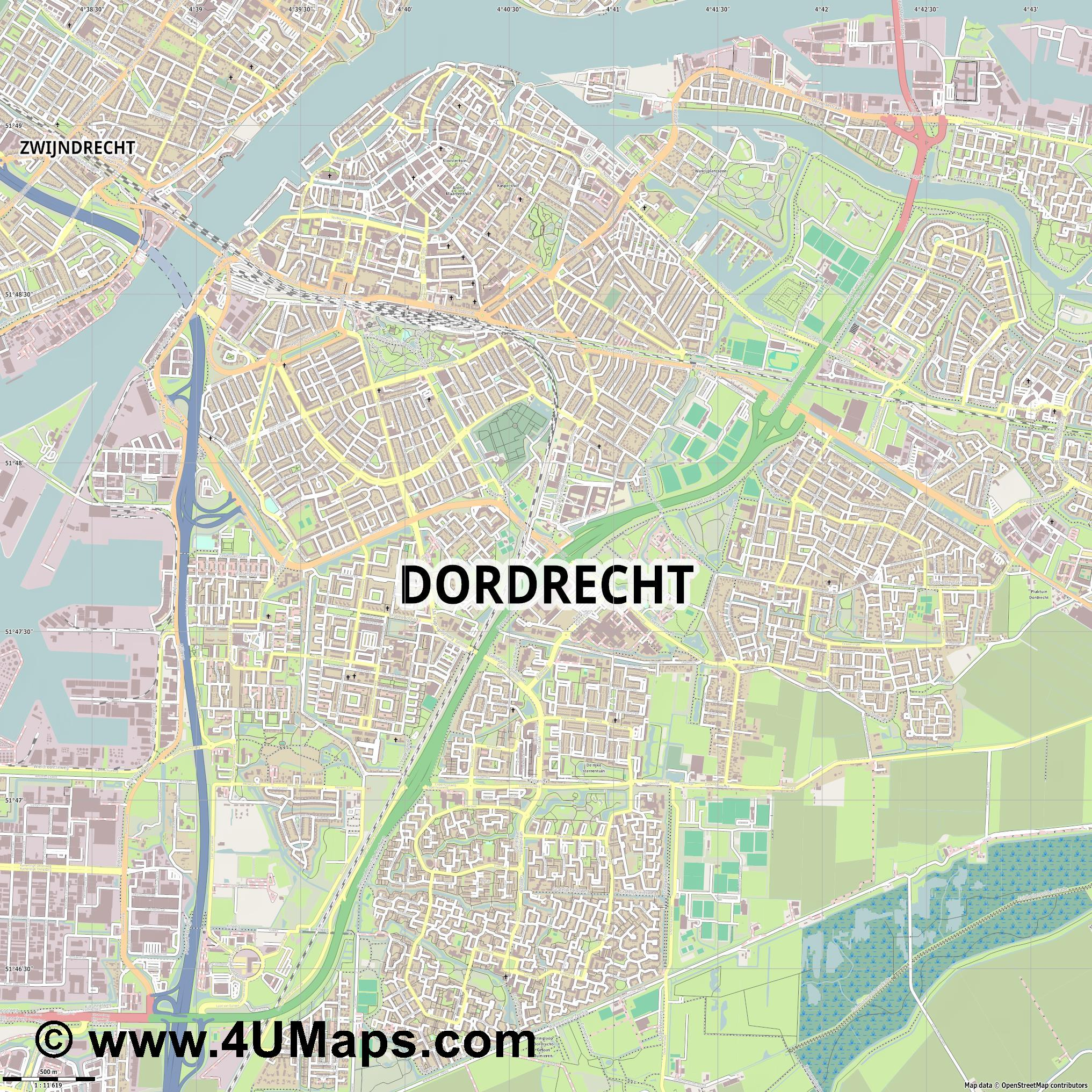 Dordrecht  jpg ultra high detail preview vector city map