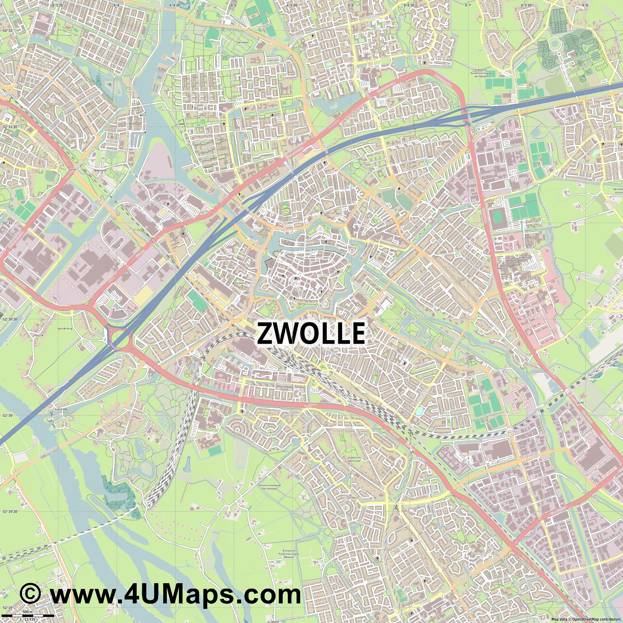 PDF Svg Scalable Vector City Map Zwolle