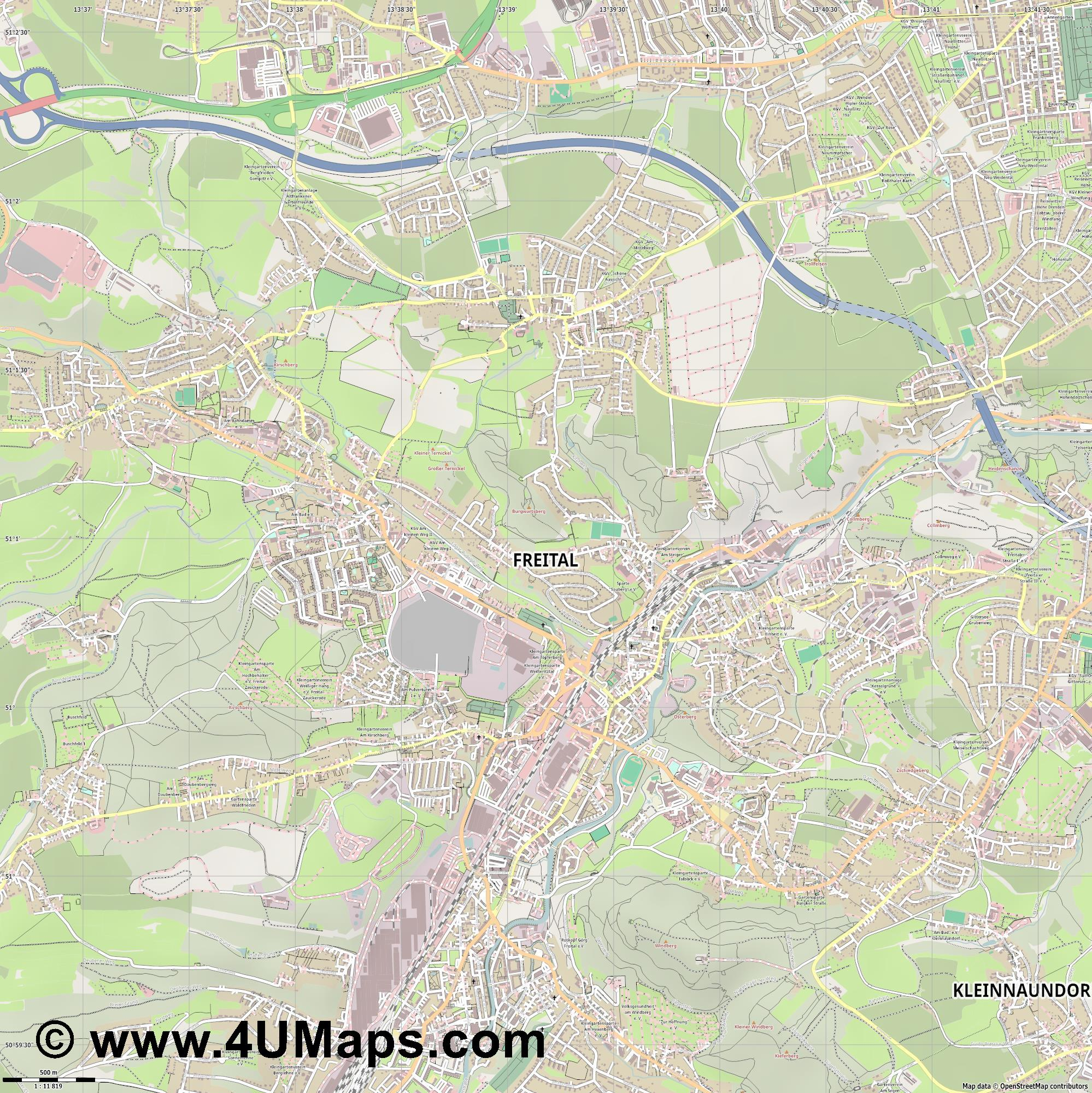 Freital  jpg ultra high detail preview vector city map
