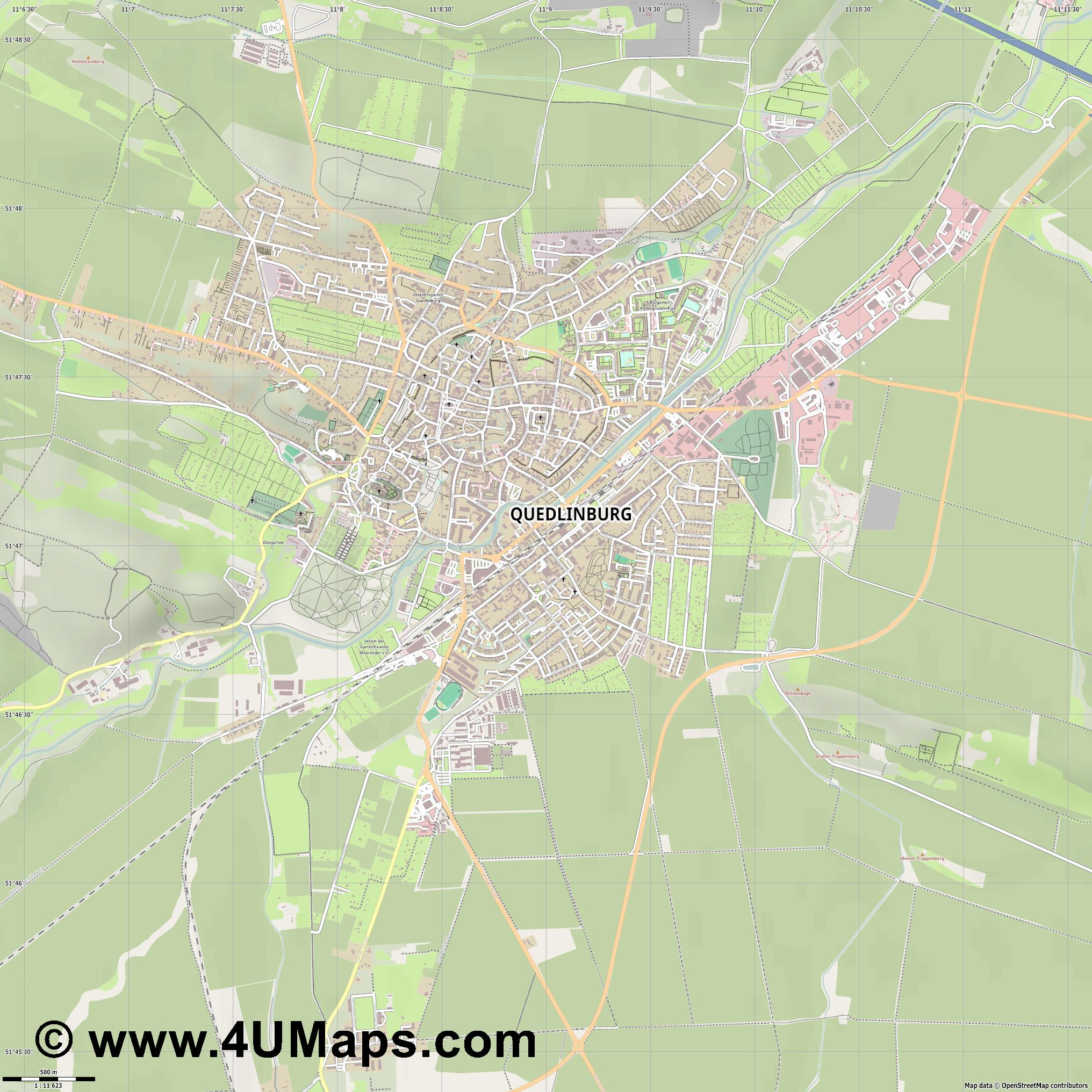 Quedlinburg  jpg ultra high detail preview vector city map