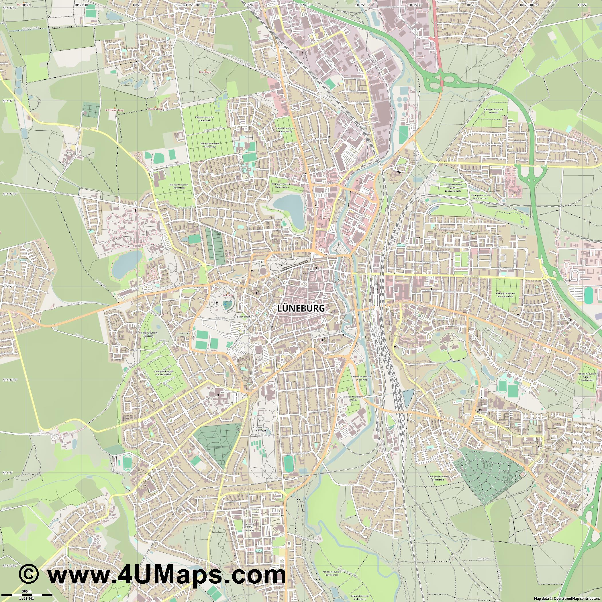 Lüneburg Lunebourg Luneburgo  jpg ultra high detail preview vector city map