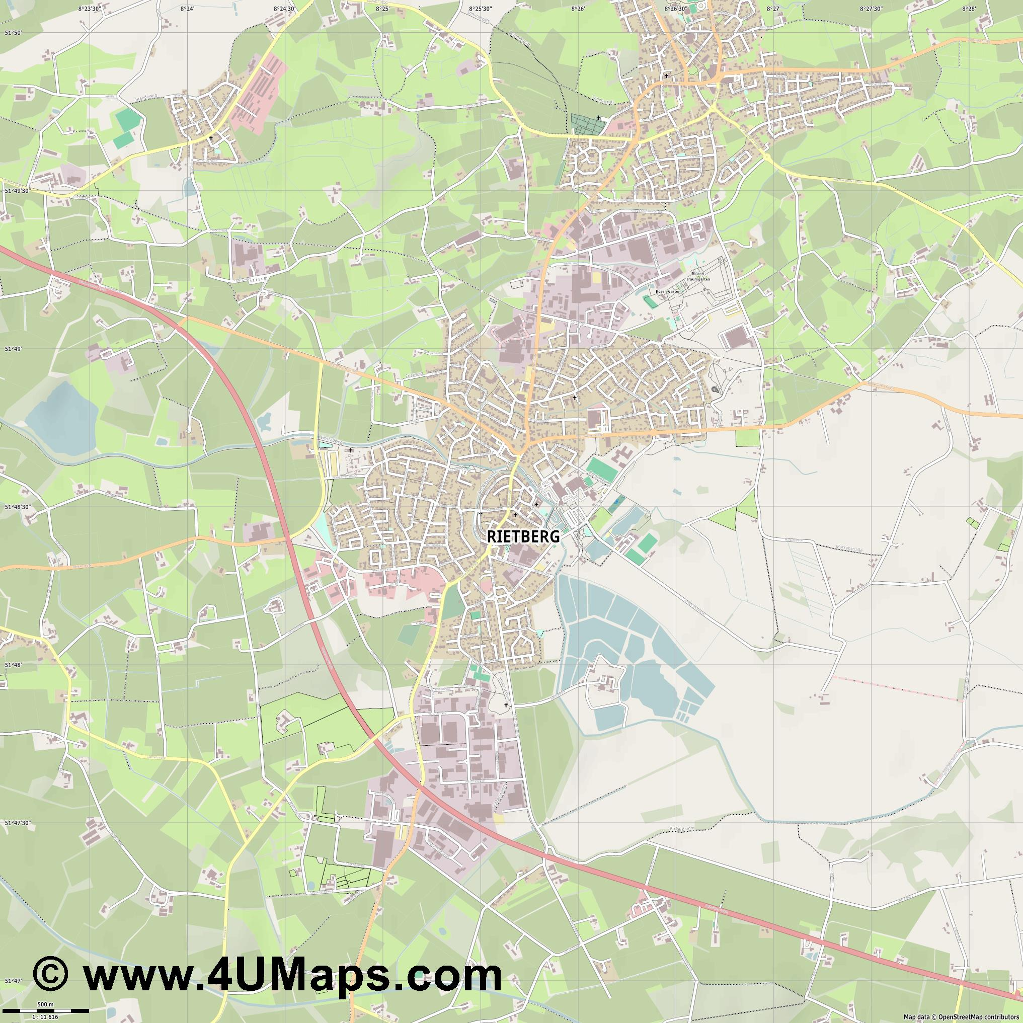 Rietberg  jpg ultra high detail preview vector city map