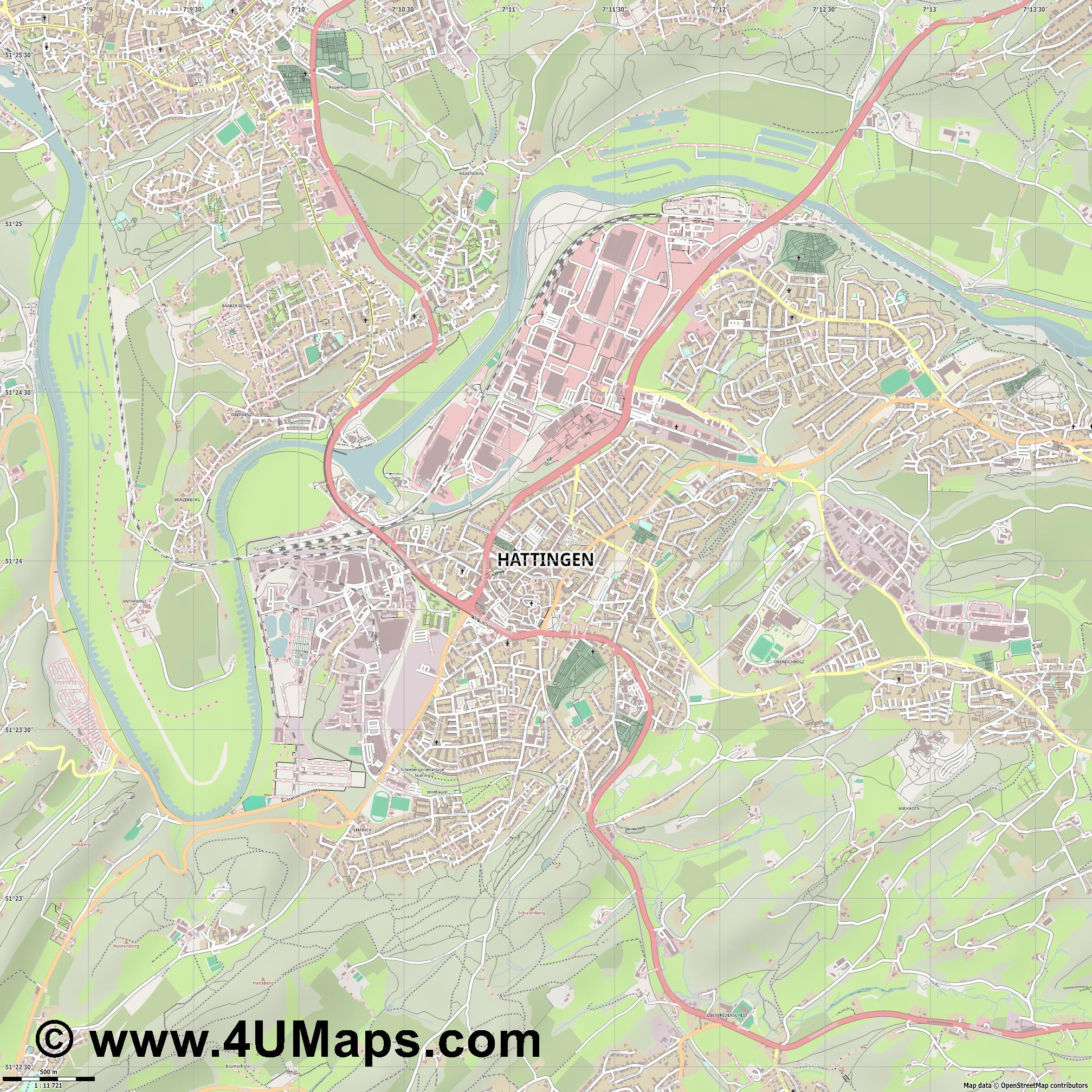 Hattingen  jpg ultra high detail preview vector city map