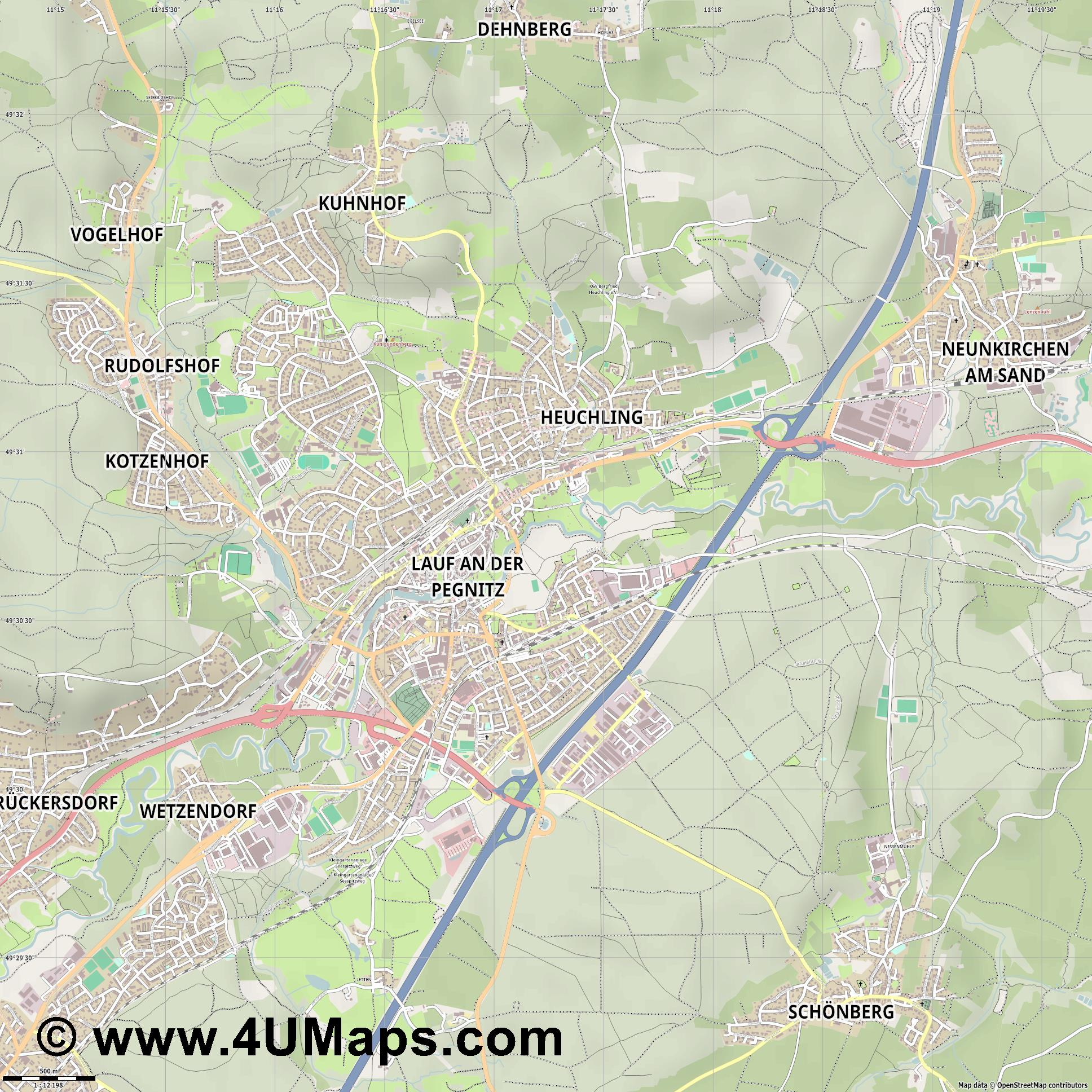Lauf a d Pegnitz  jpg ultra high detail preview vector city map