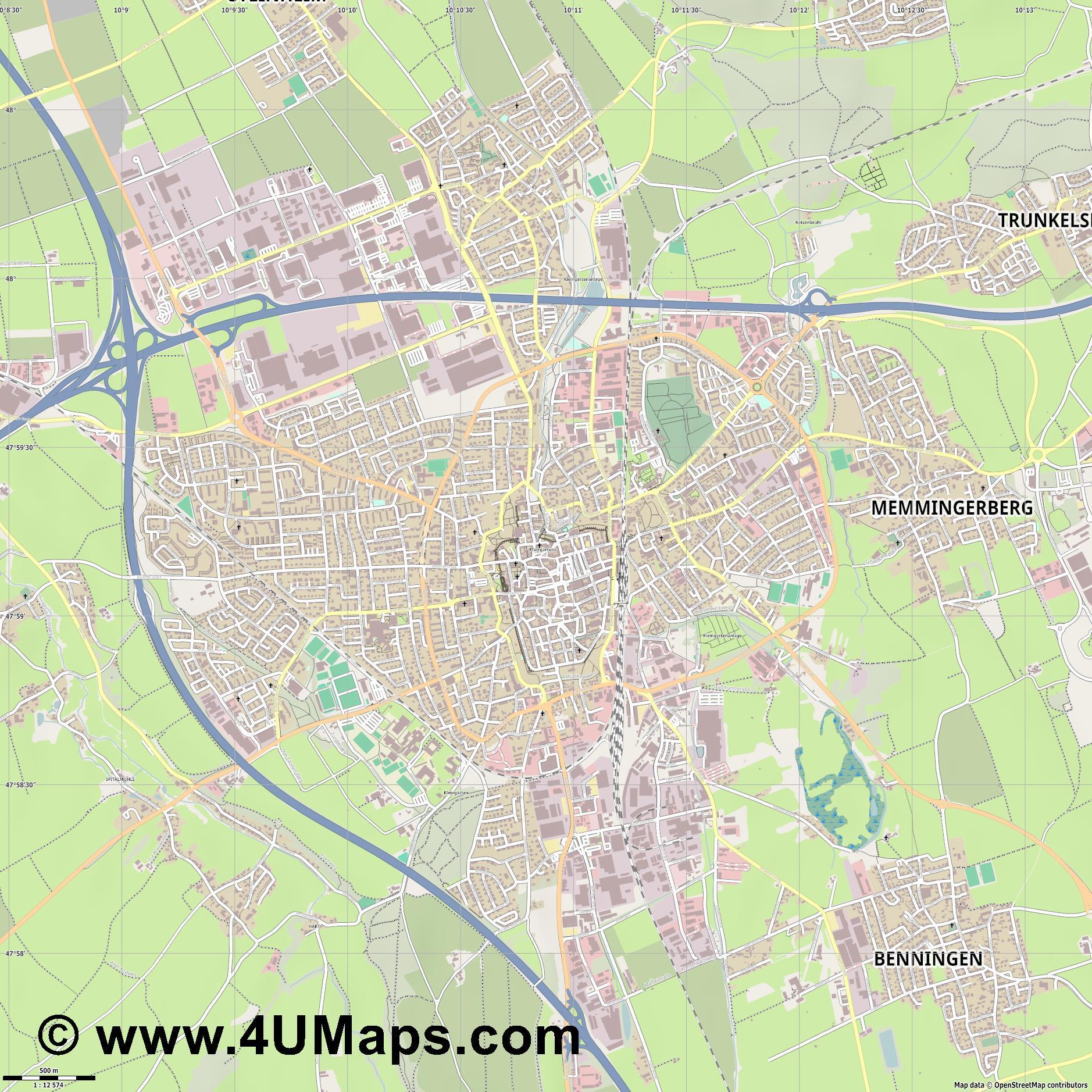 Map Of Germany Memmingen.Pdf Svg Scalable Vector City Map Memmingen