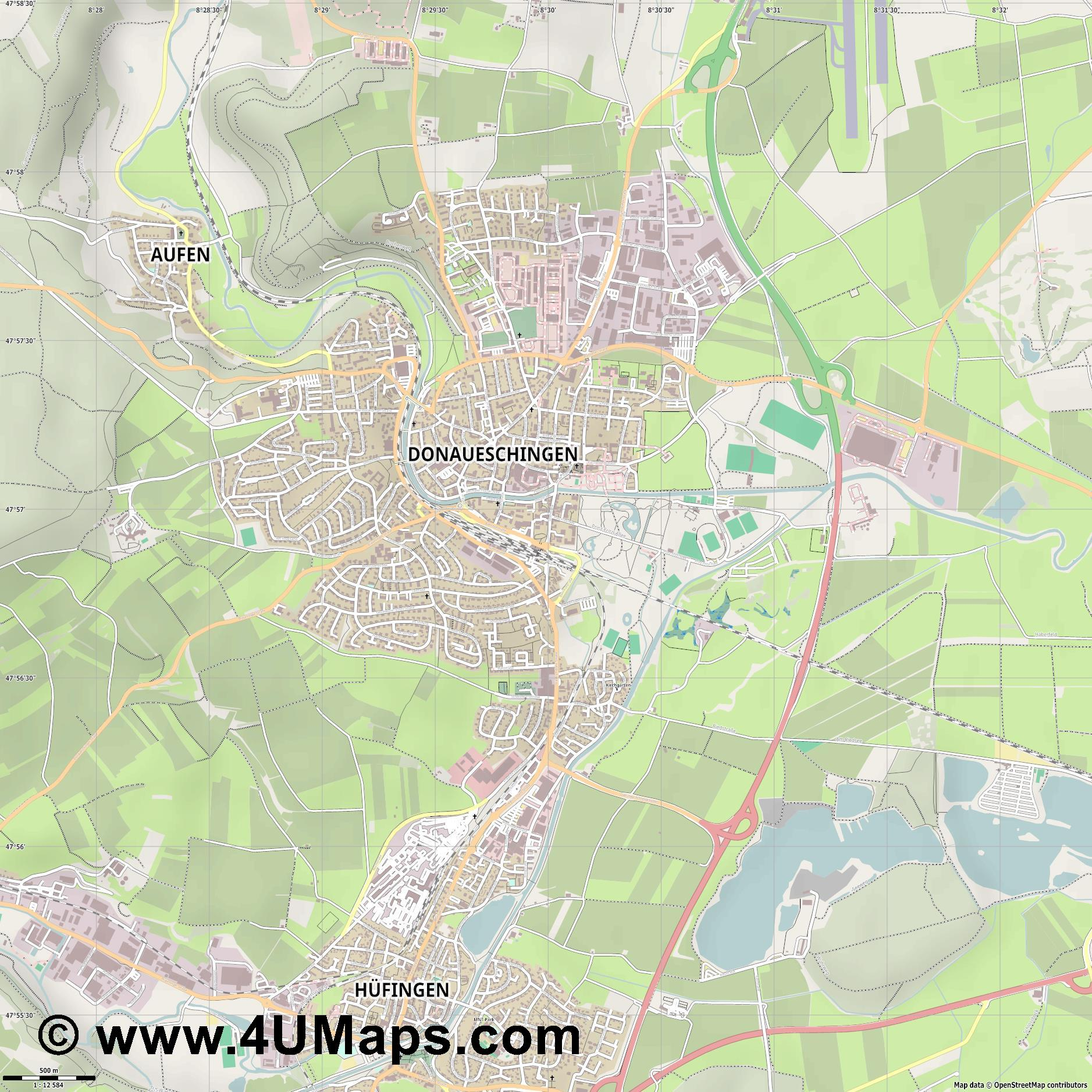 Donaueschingen  jpg ultra high detail preview vector city map