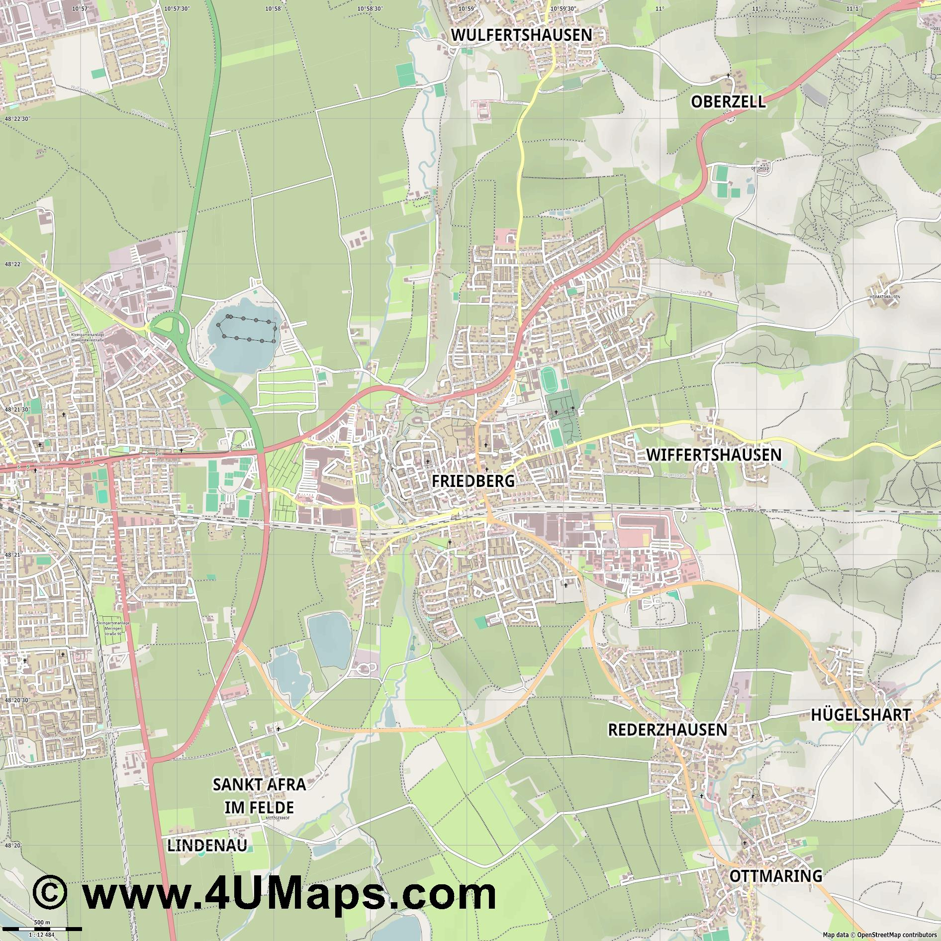 Friedberg  jpg ultra high detail preview vector city map