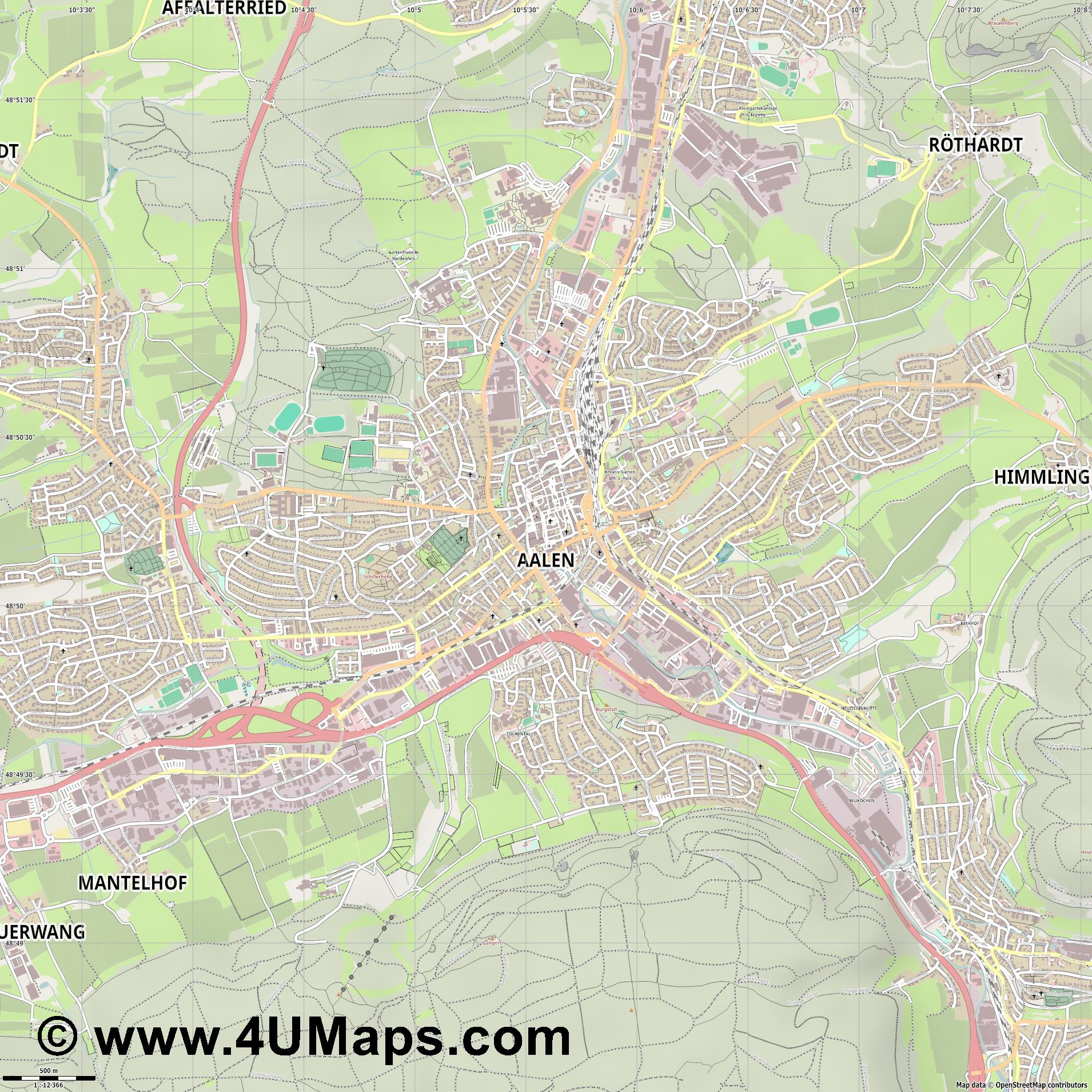 Aalen  jpg ultra high detail preview vector city map