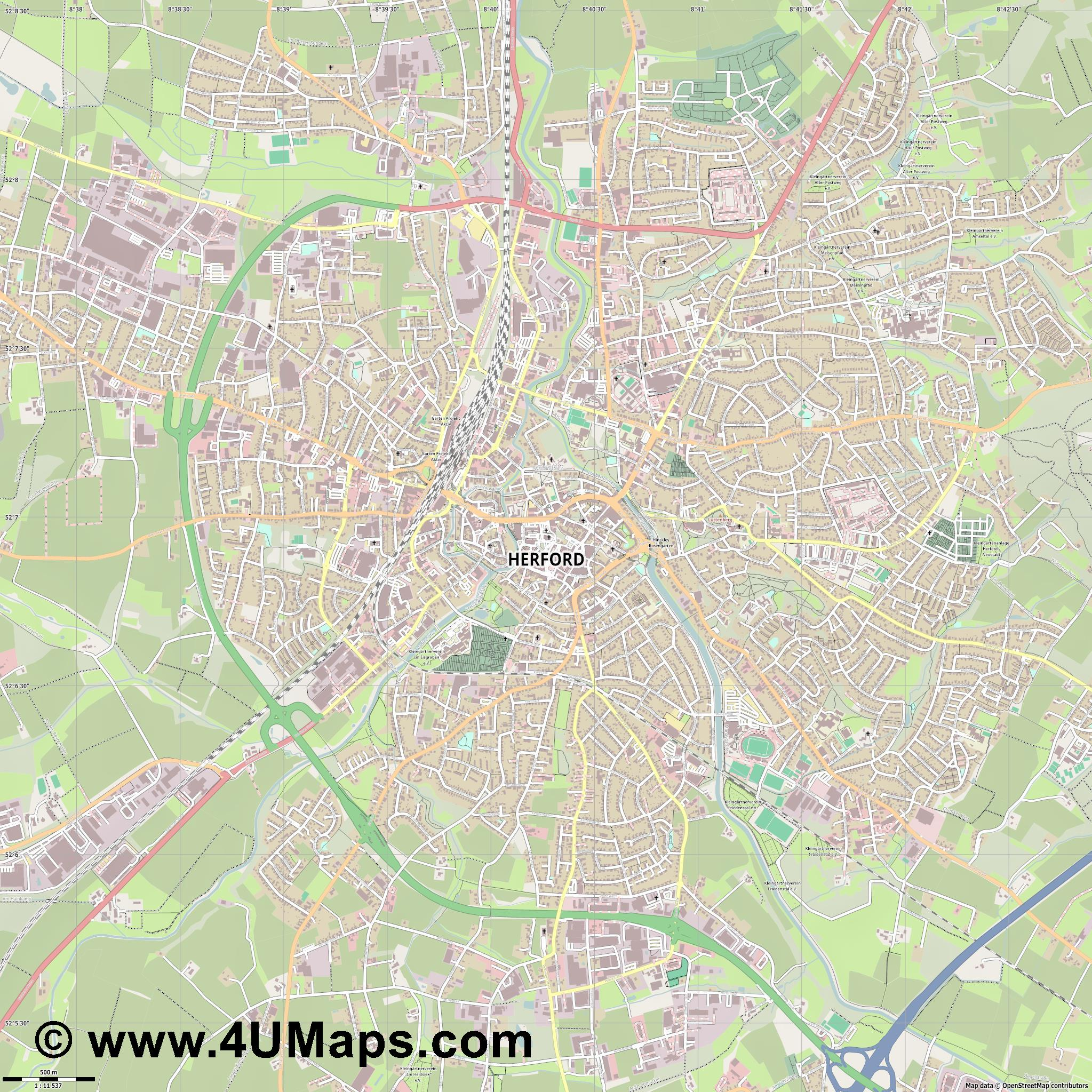 Herford  jpg ultra high detail preview vector city map