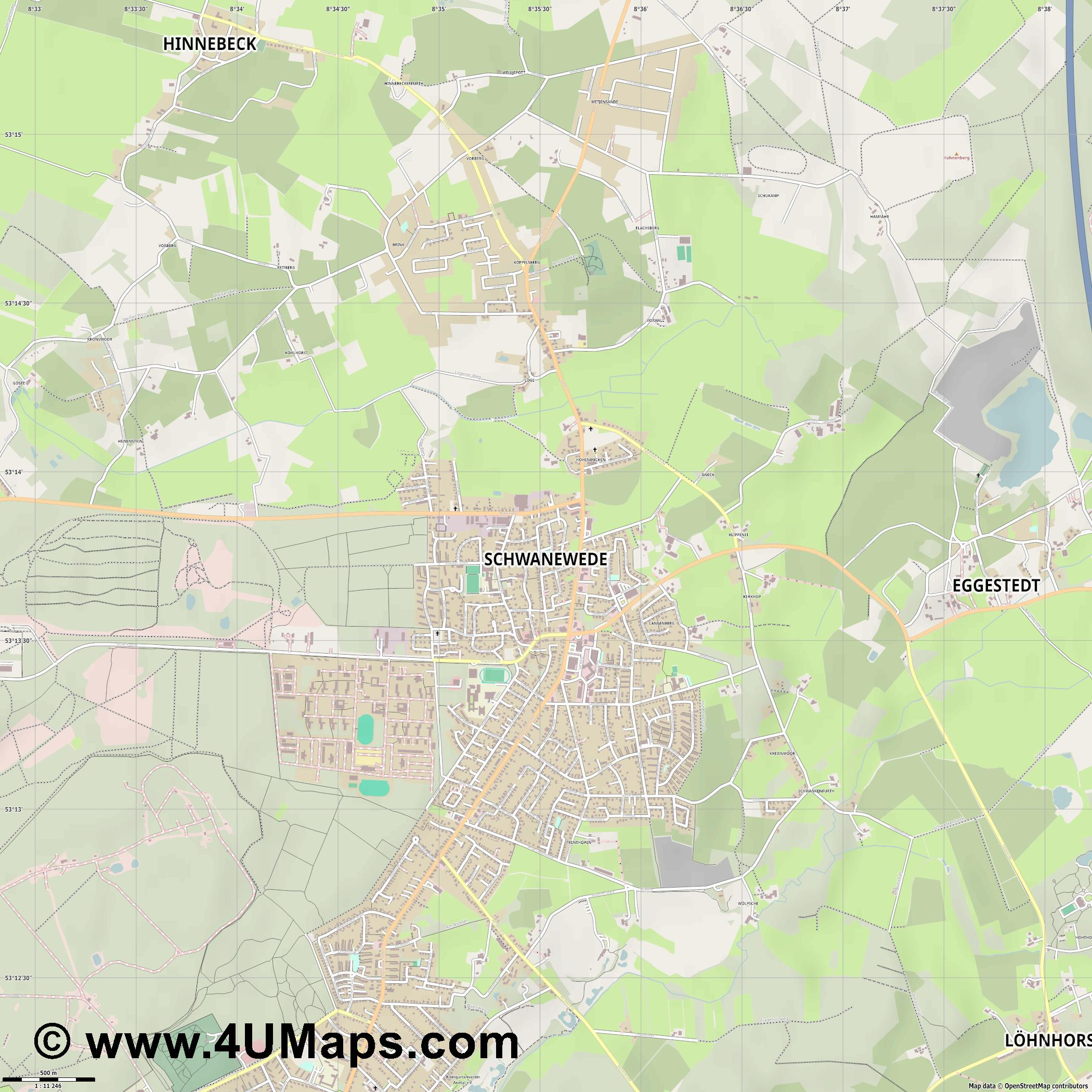 Schwanewede  jpg ultra high detail preview vector city map