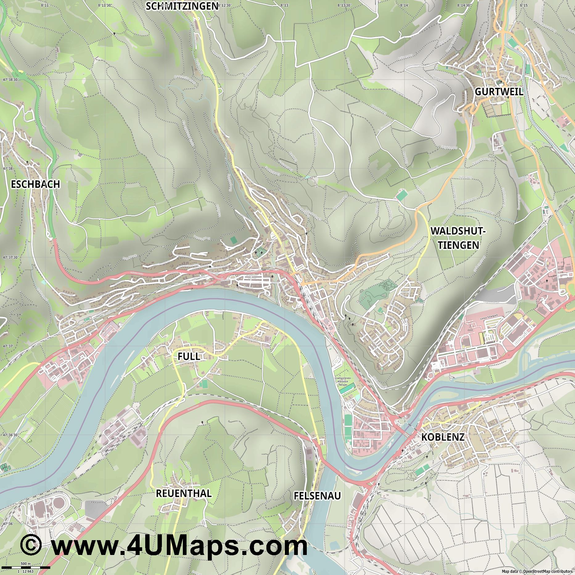 Waldshut  jpg ultra high detail preview vector city map